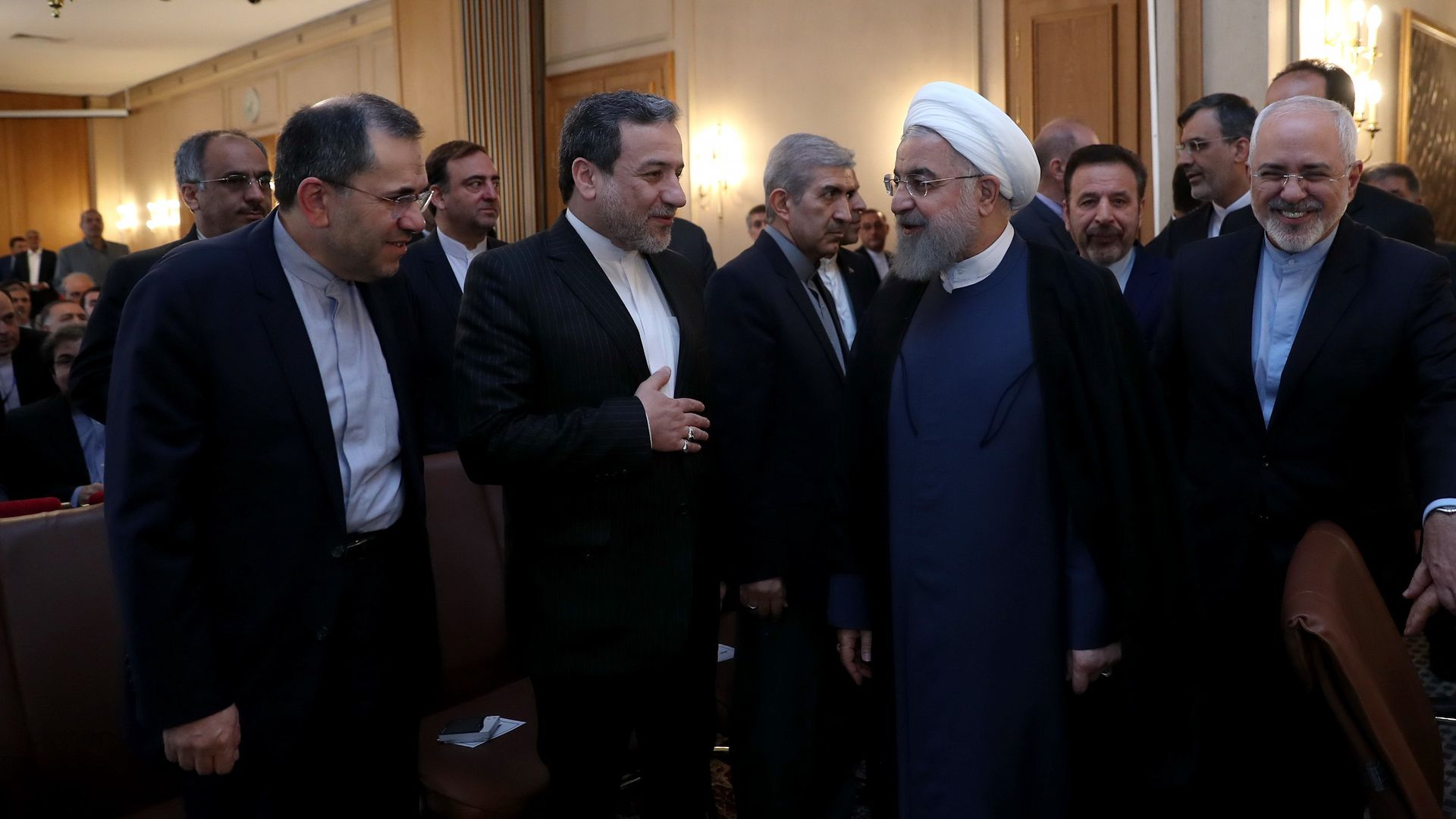 Iranian President Hassan Rouhani and Iranian Foreign Minister Javad Zarif meeting with foreign embassies and diplomatic mission representatives in Tehran.