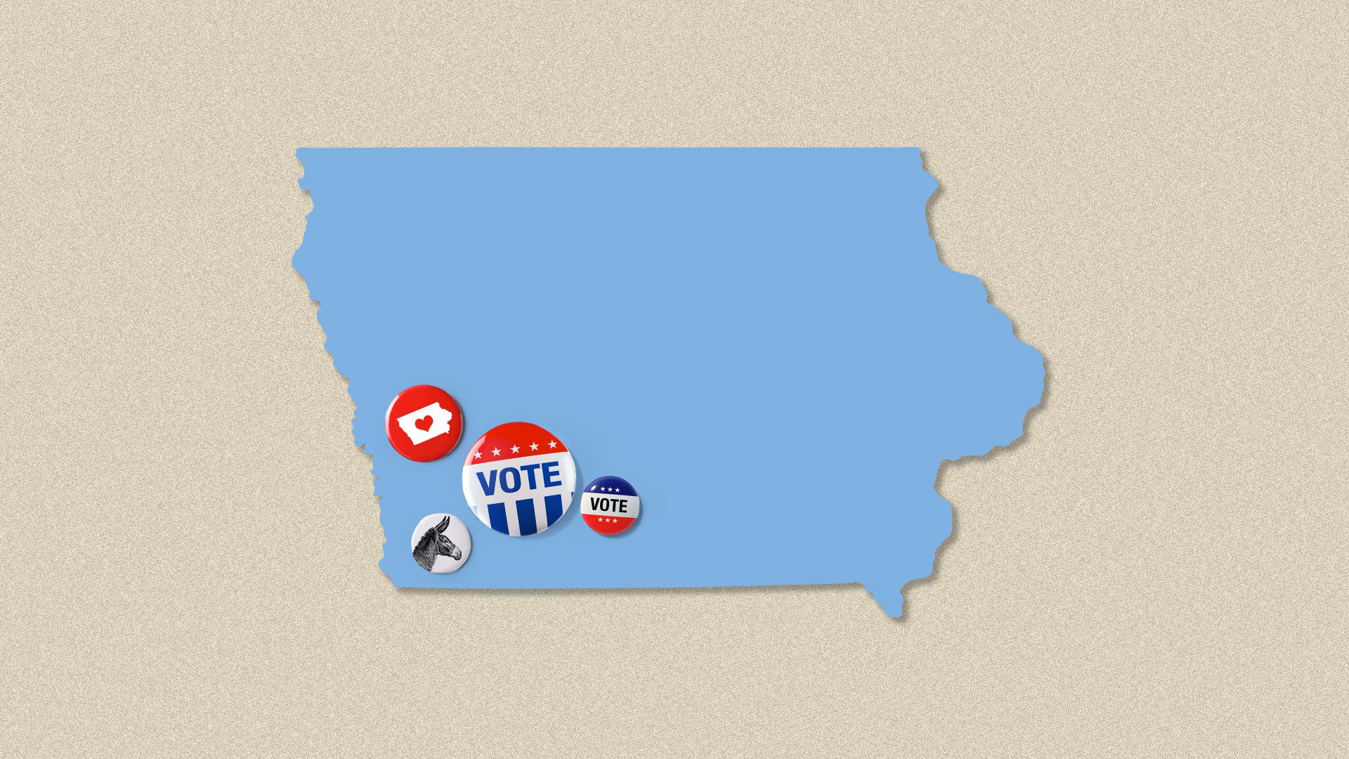 Illustration of the state of Iowa wearing various voting buttons.