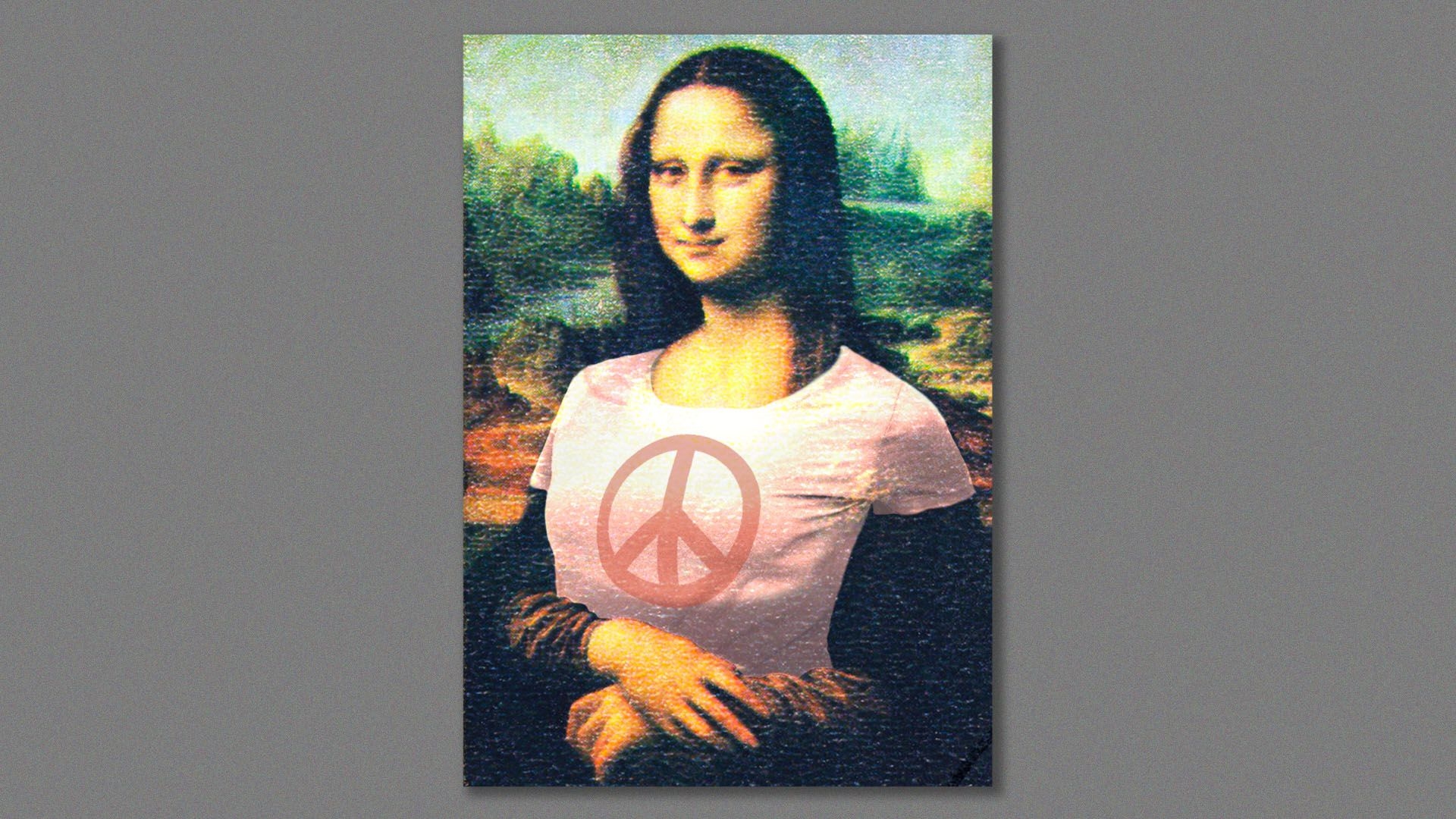 Illustration of the Mona Lisa wearing a t-shirt with a peace sign