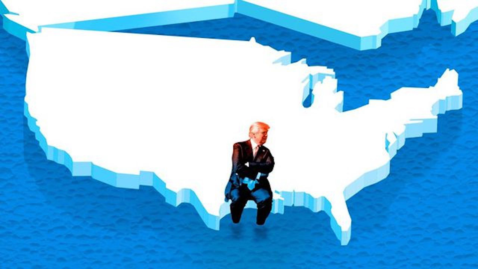 Illustration of Trump sitting on an ice version of the U.S. that's floating away.