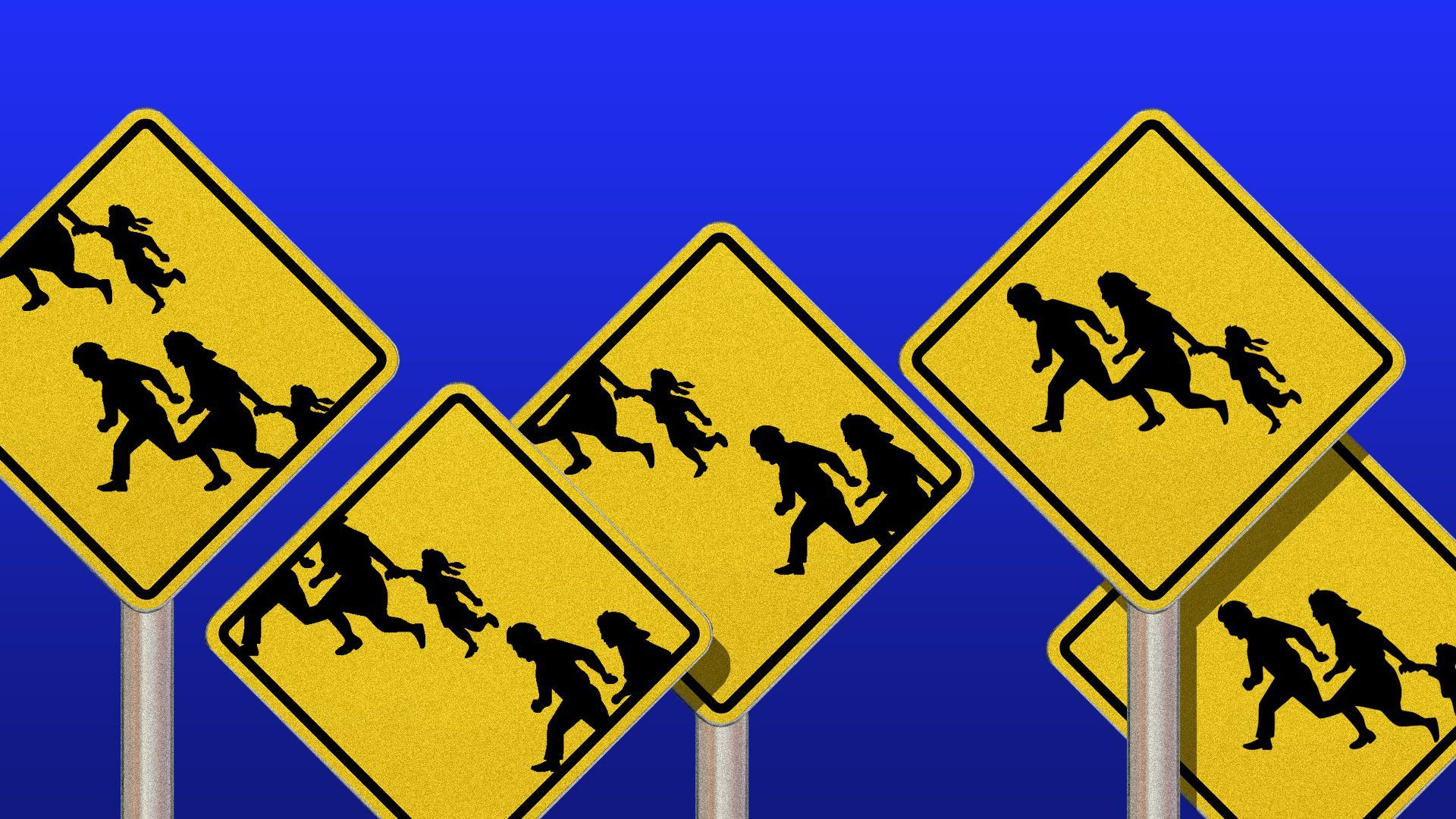 Illustration of yield signs showing running kids