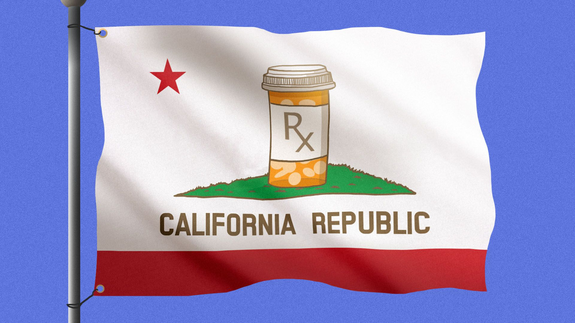 Illustration of the California state flag with the bear replaced by a pill bottle