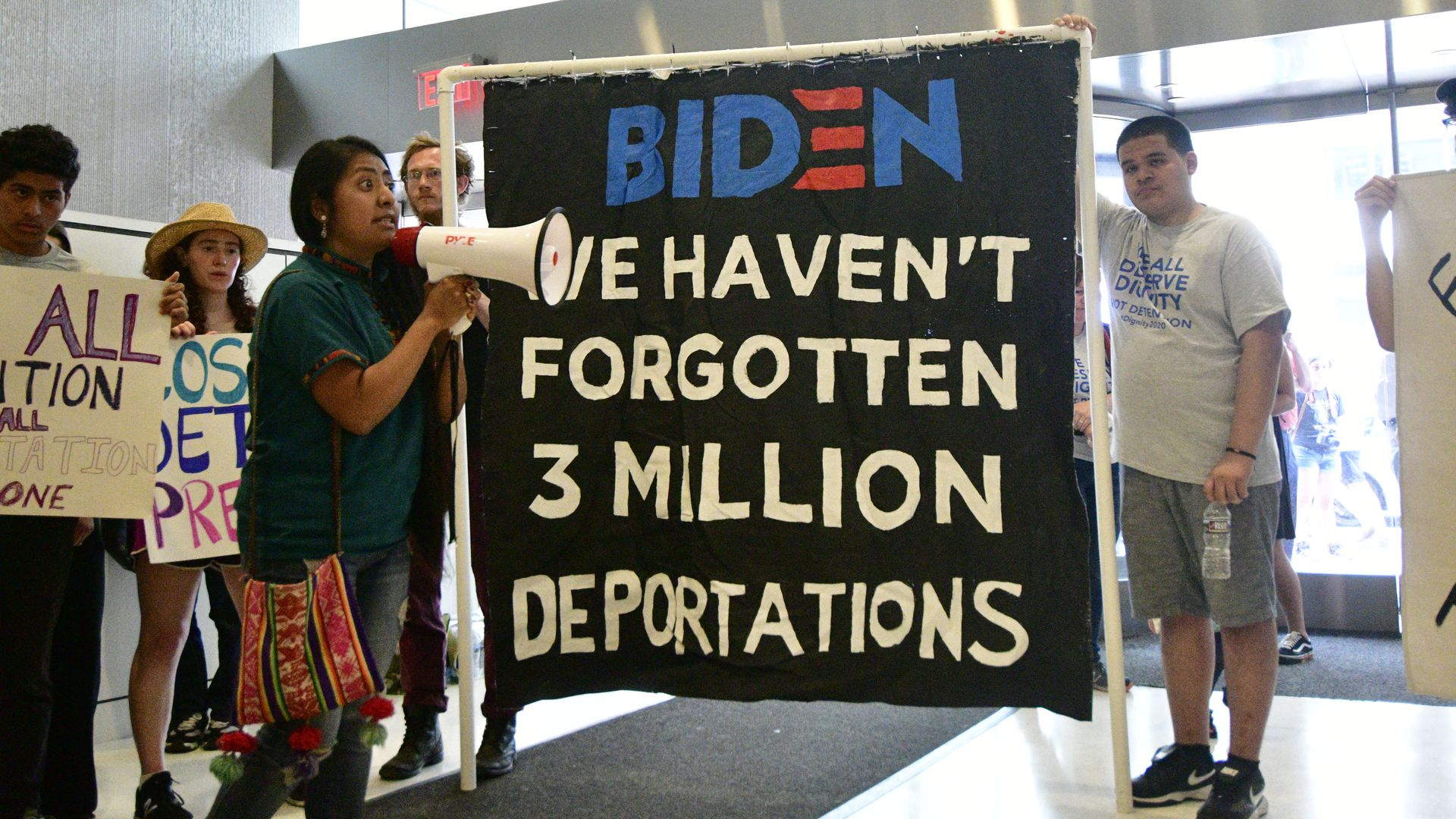 Fifty immigrants, joined by community activist occupy the lobby of whats believed to house the office of 2020 US Presidential hopeful Joe Biden.