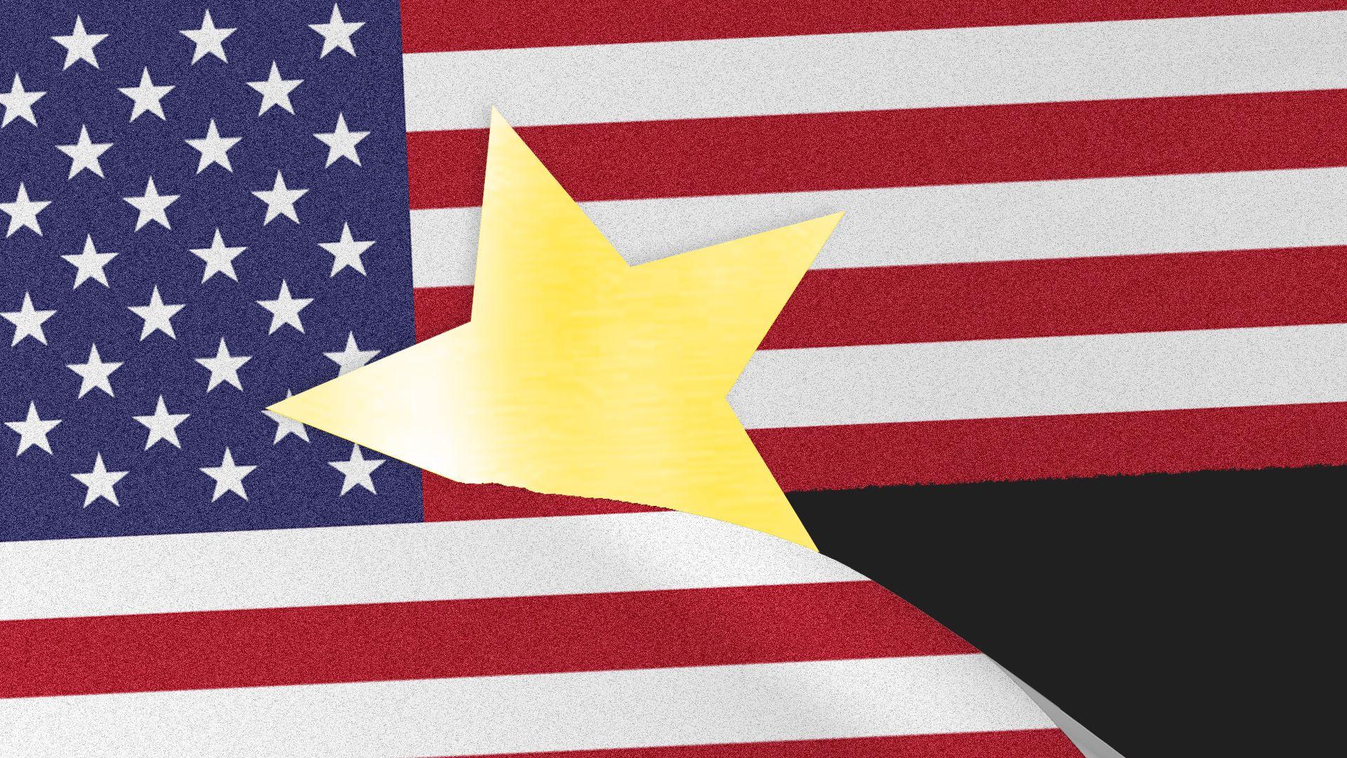 Illustration of Chinese star slicing through U.S. flag