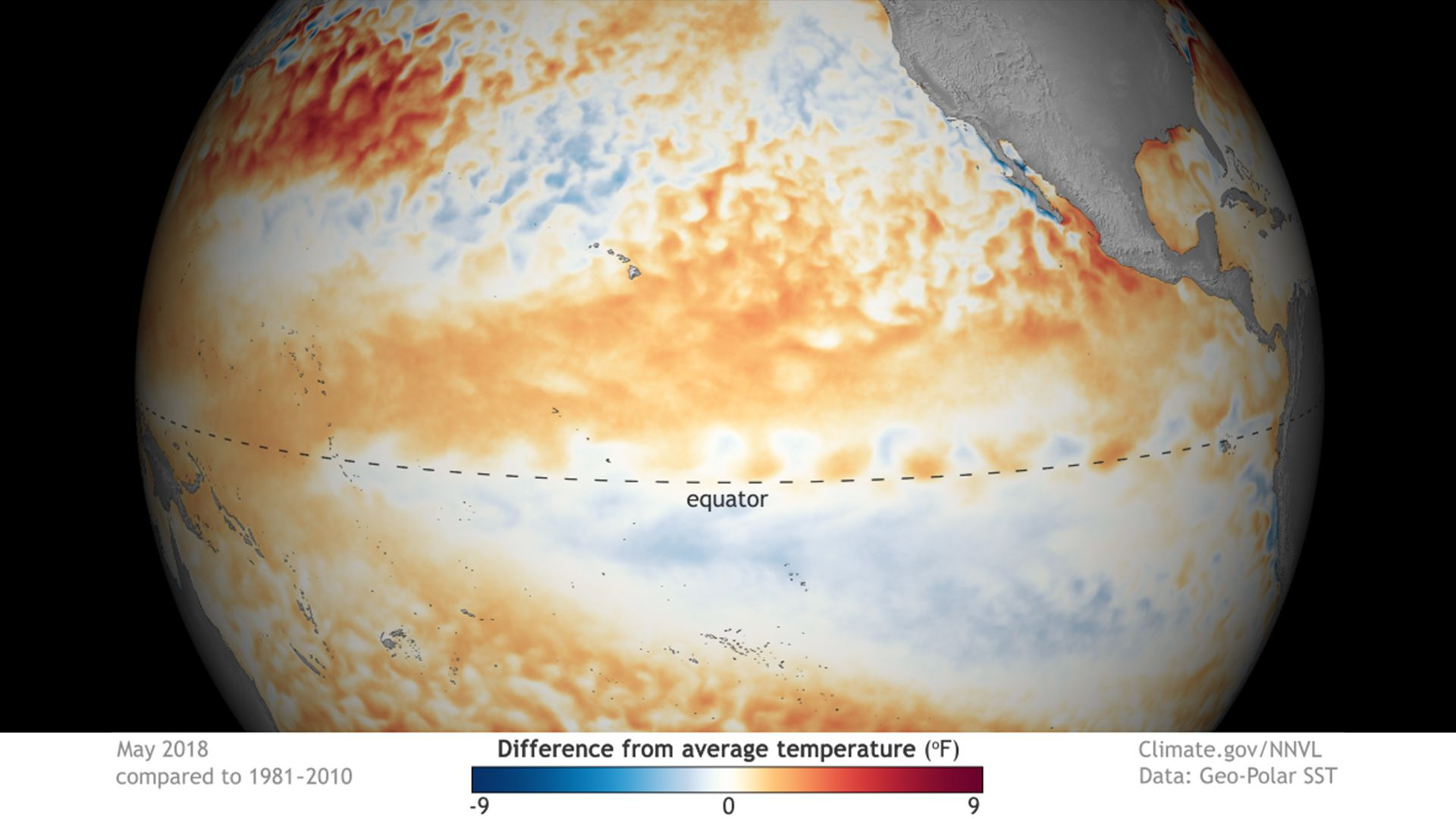 Sea surface temperature anomalies across the tropical Pacific Ocean.