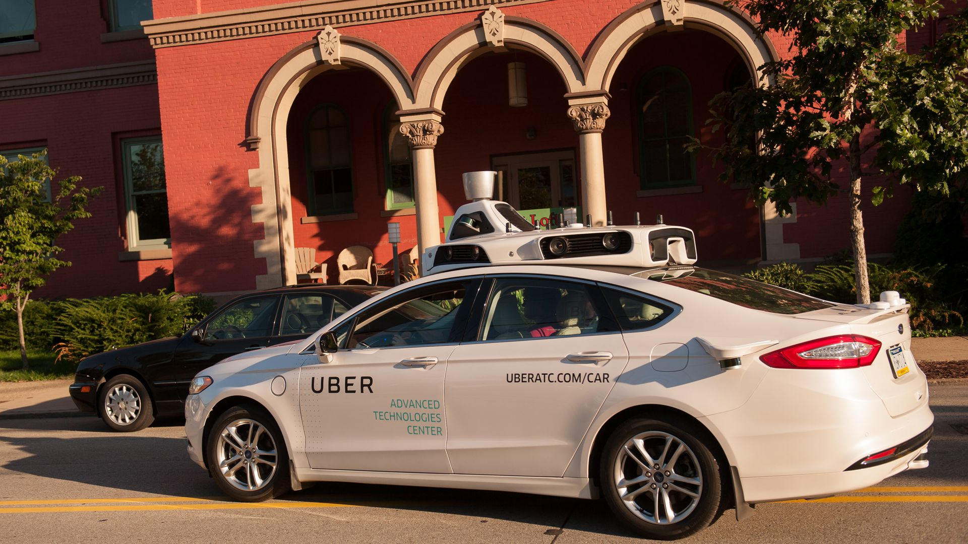 Self-driving Uber on the street in Pittsburgh