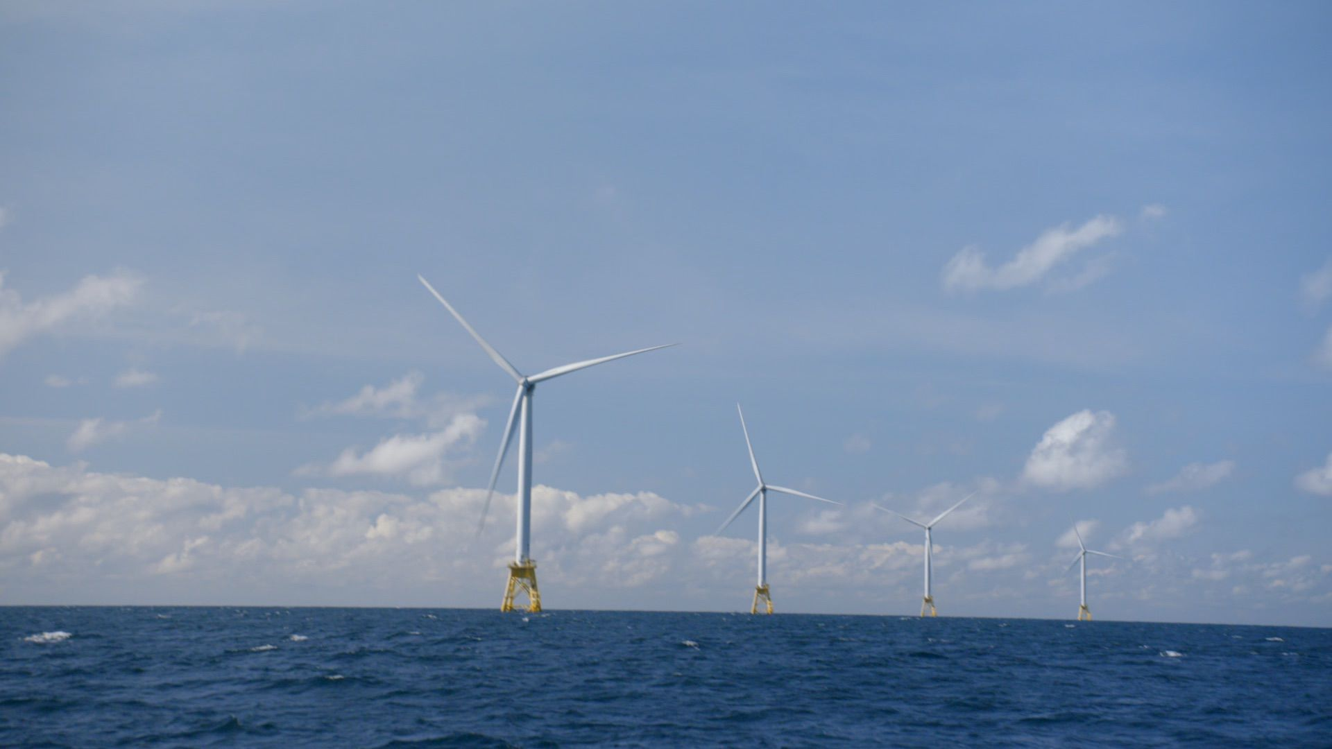 Still frame of offshore wind farm footage from Axios on HBO.