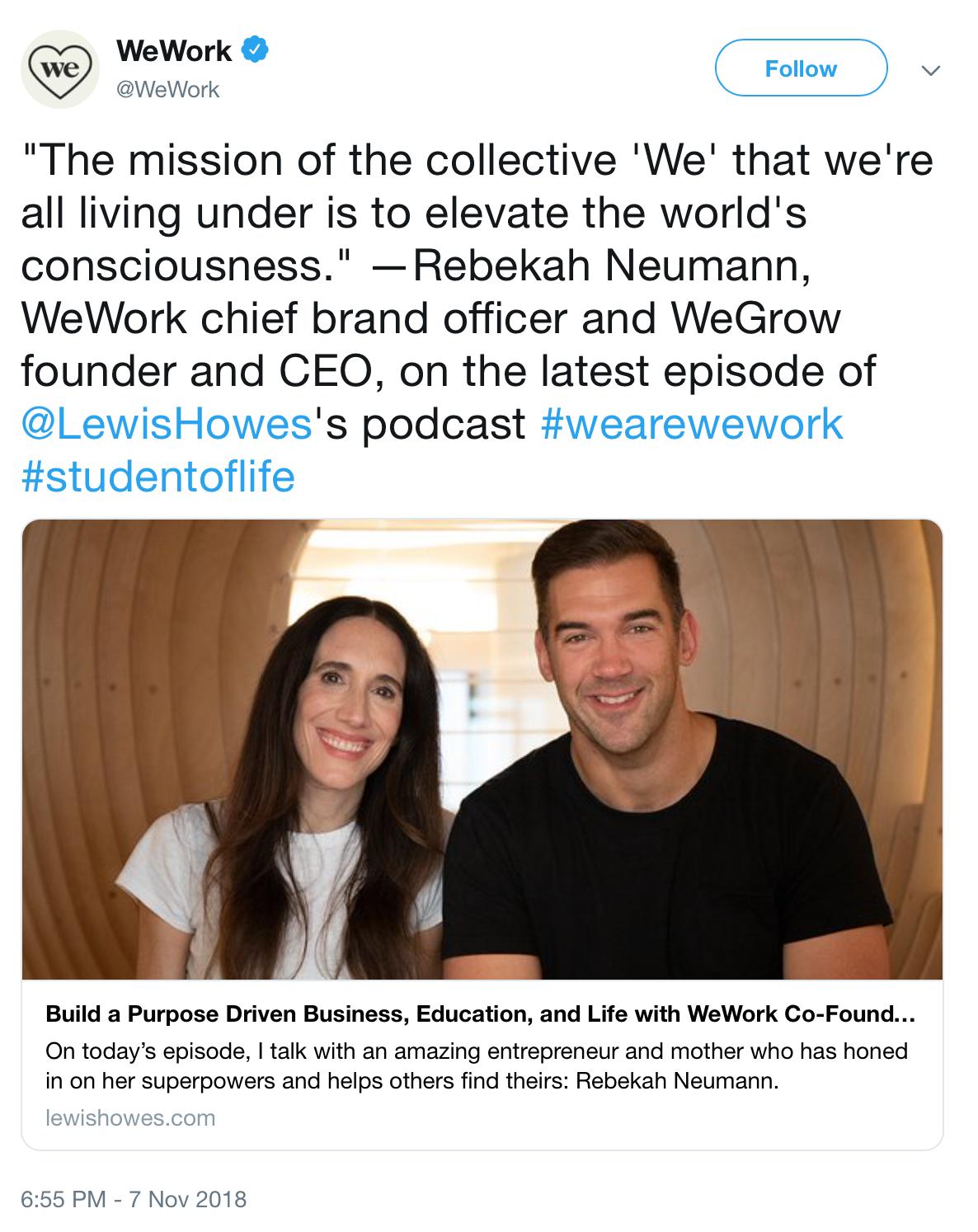 WeWork tweet