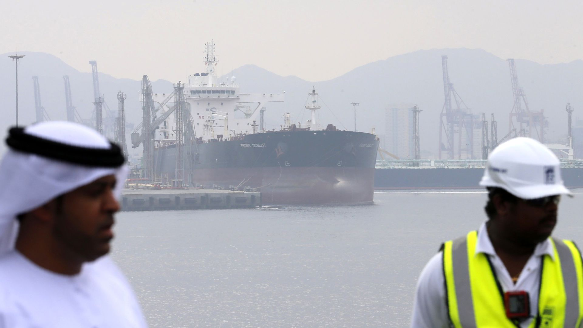 A tanker is seen at the oil terminal of Fujairah during the inauguration ceremony of a dock for supertankers on September 21, 2016.