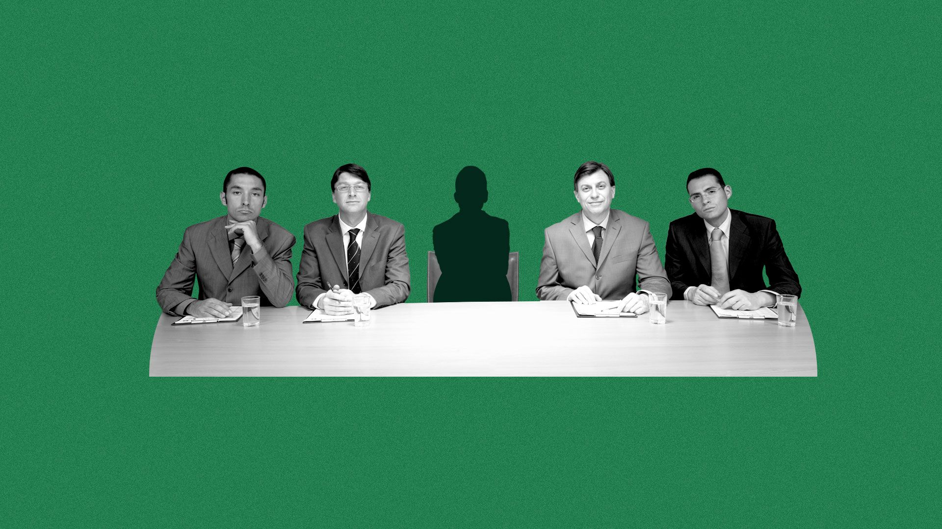 Illustration of conference table with men. In the middle is a silhouette of a woman