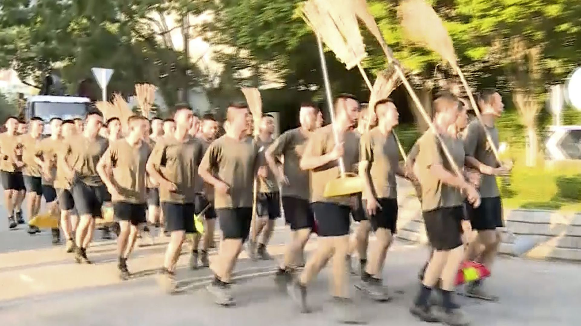 Troops running.