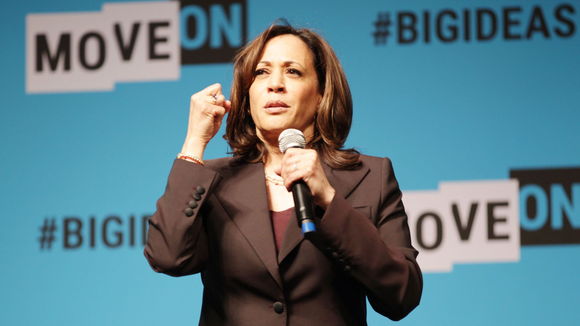 Kamala Harris speaks onstage at the MoveOn Big Ideas Forum at The Warfield Theatre on June 01, 2019 in San Francisco, California.