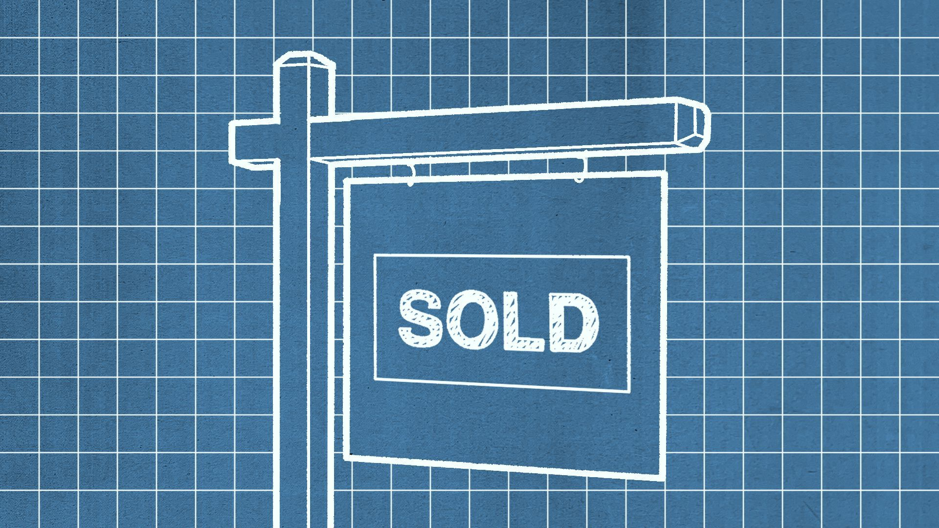 """Illustration of a blueprint-style drawing of a real estate sign reading """"sold."""""""