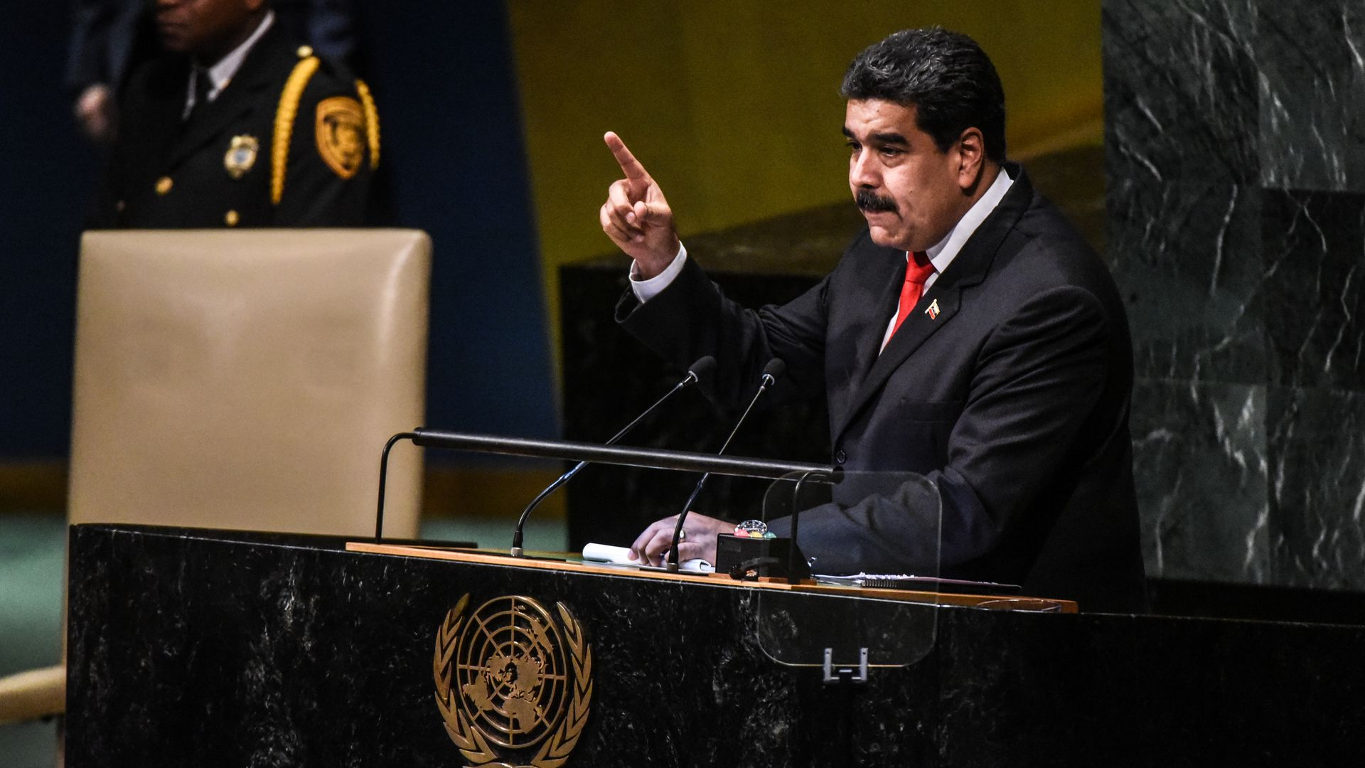 Nicolás Maduro, President of Venezuela delivers a speech at the United Nations during the General Assembly on September 26, 2018 in New York City.