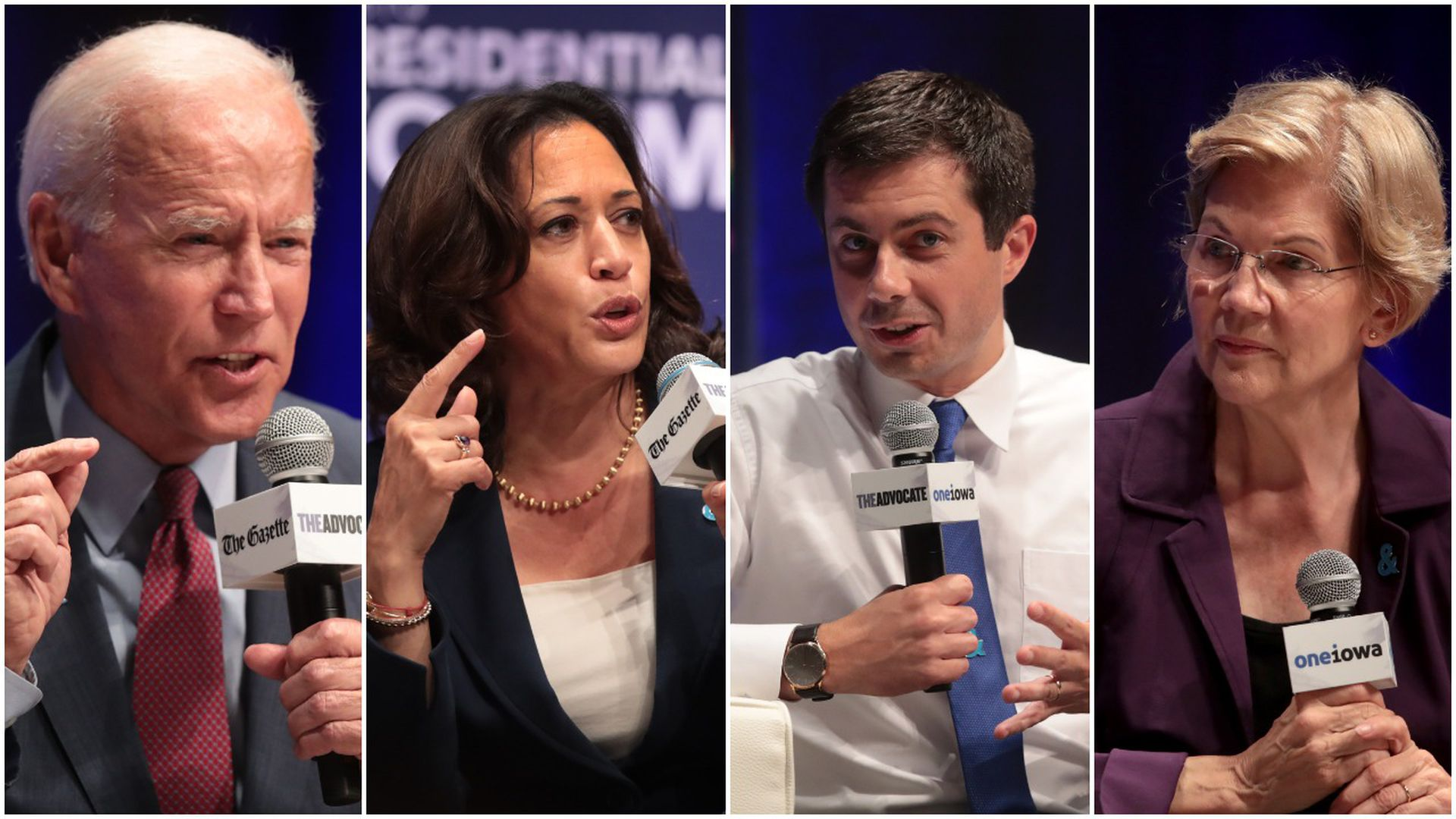 This image is a four-way split screen between Biden, Kamala, Pete, and Warren. They are all speaking into microphones.