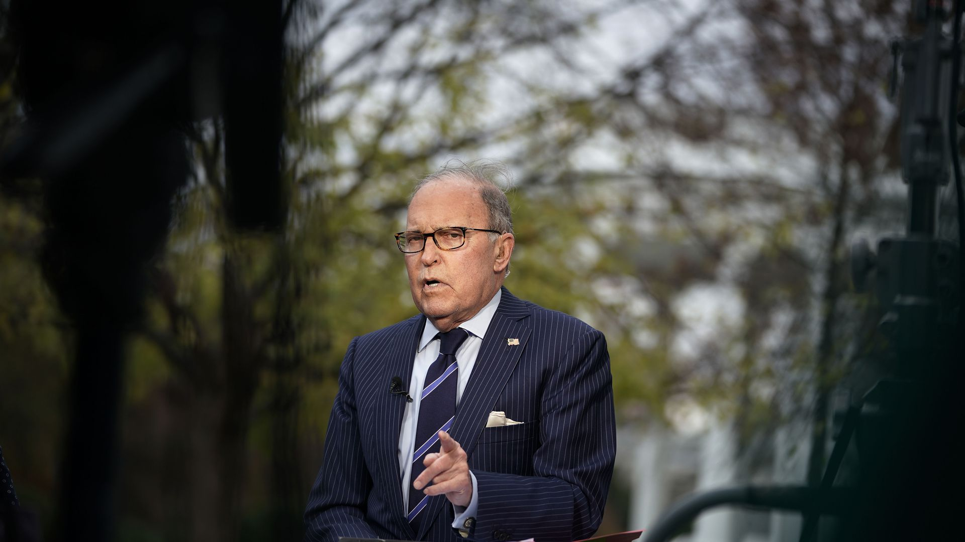 Director of the National Economic Council Larry Kudlow speaks during after a TV interview with Fox Business Network