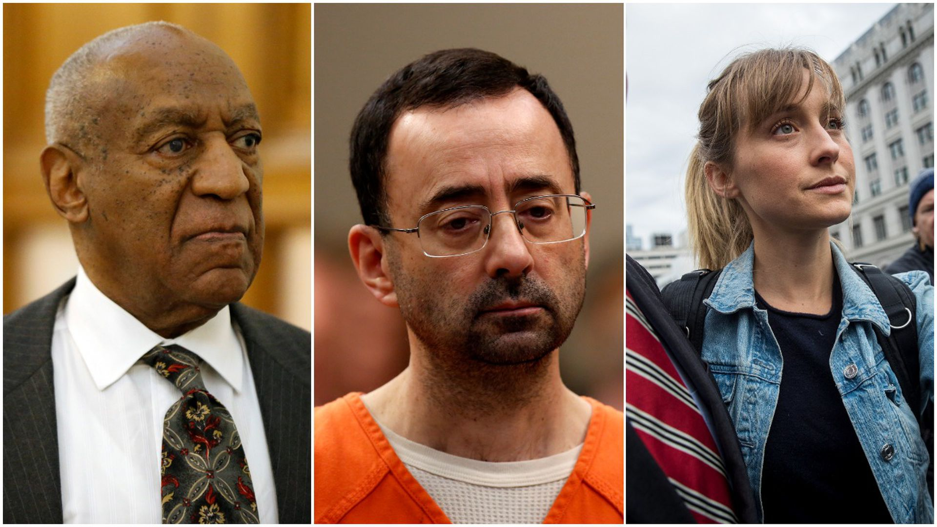 This image a three-way split between Larry Nassar, Bill Cosby, and Allison Mack