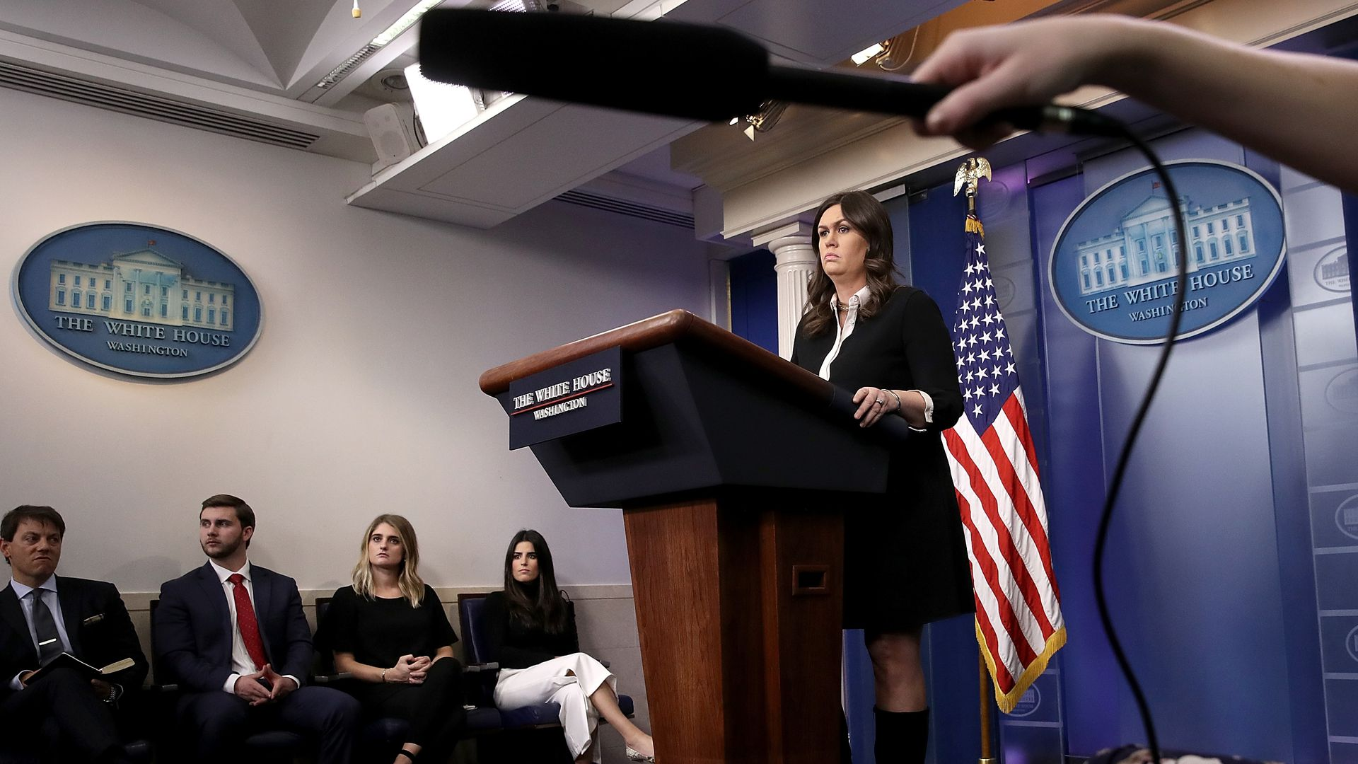 Sarah Sanders during the White House press briefing on January 17.