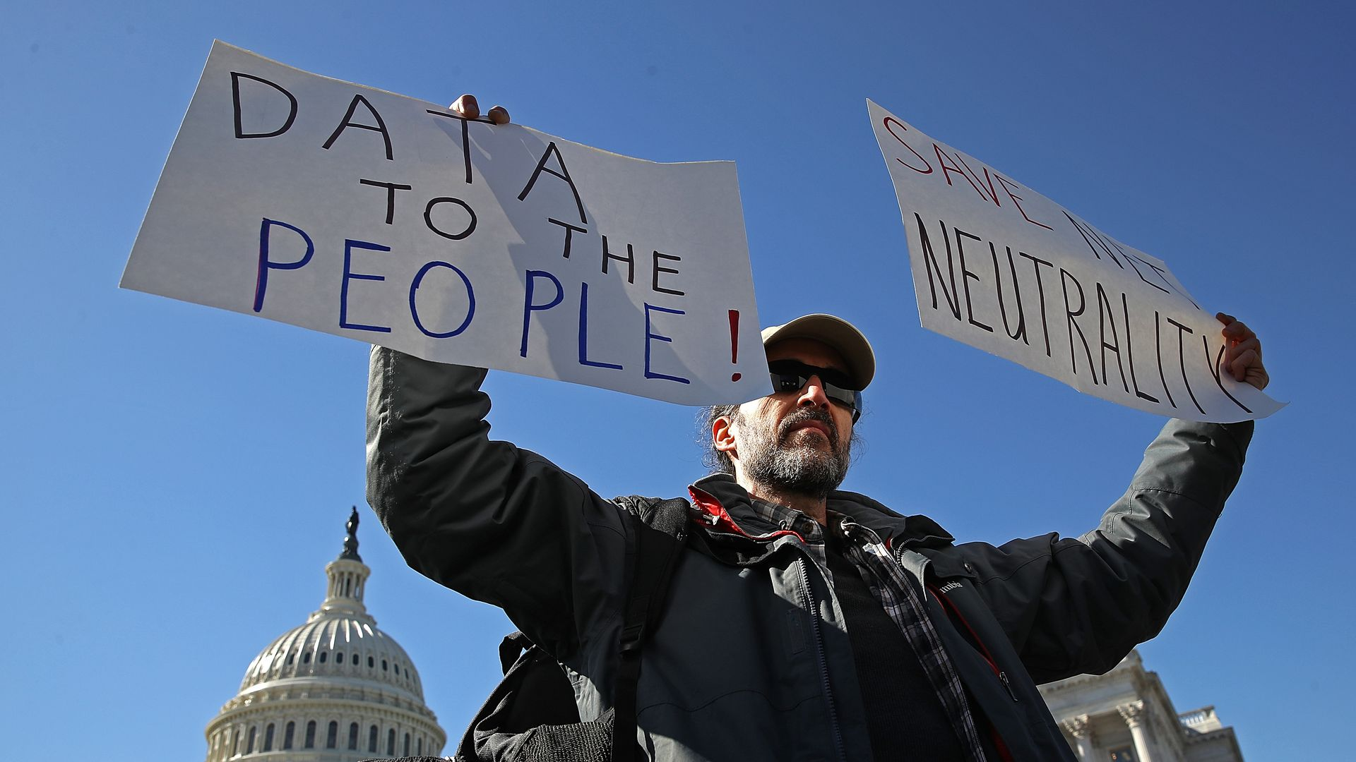A net neutrality supporter last month. Photo: Win McNamee/Getty Images