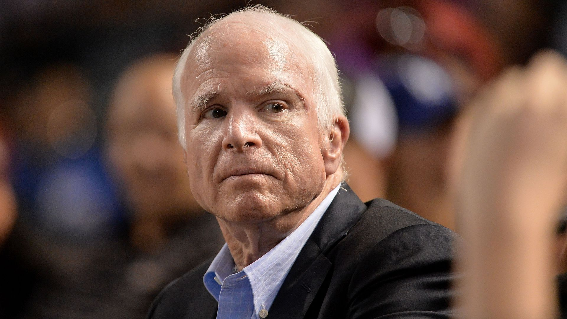 John McCain looks out at a crowd