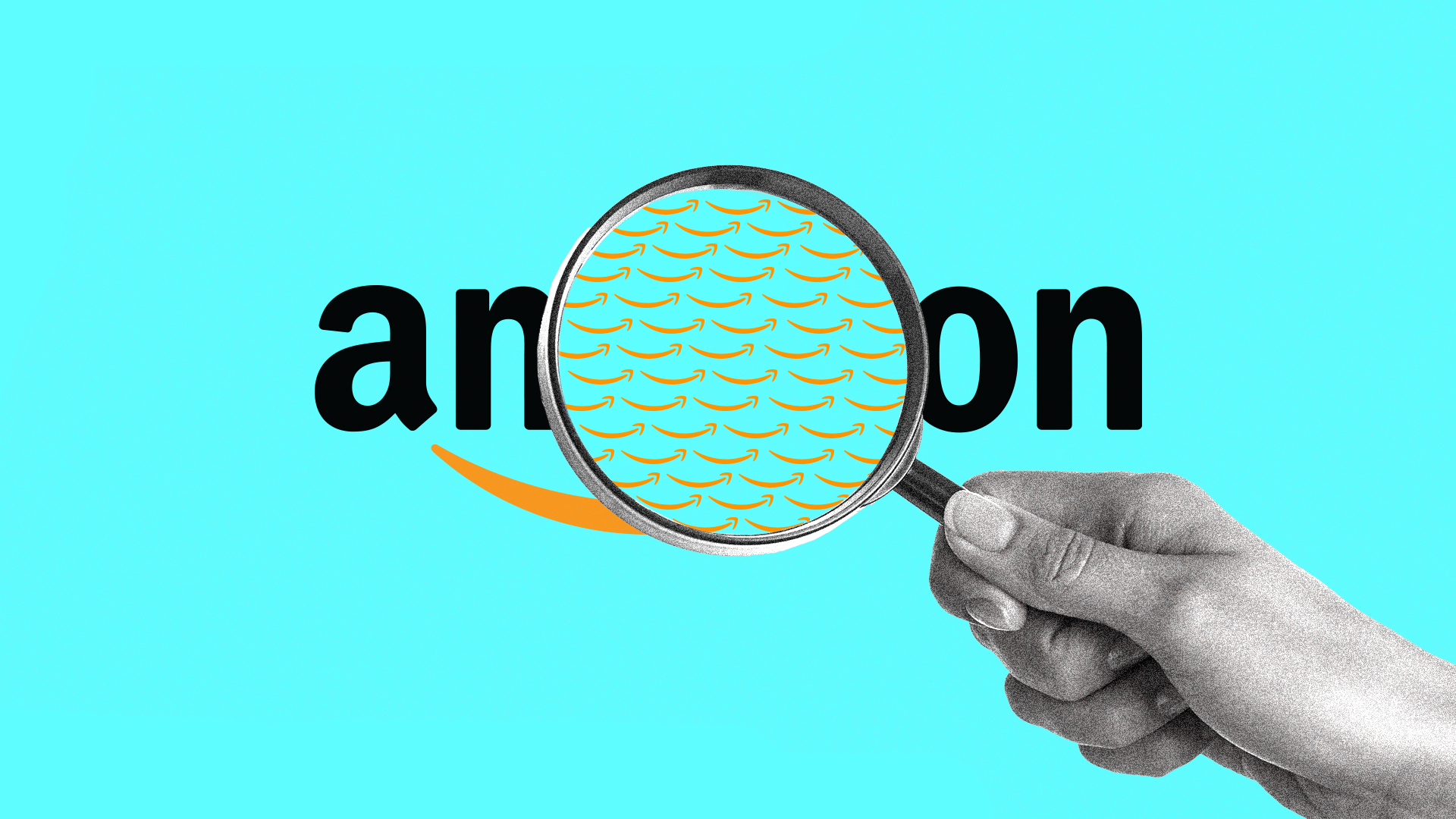Illustration of a magnifying glass over an Amazon logo
