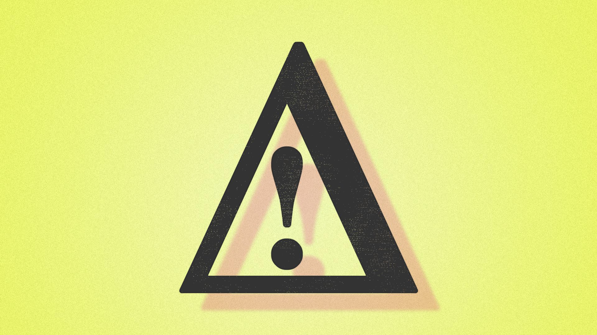 A warning symbol of a triangle with an exclamation point inside.