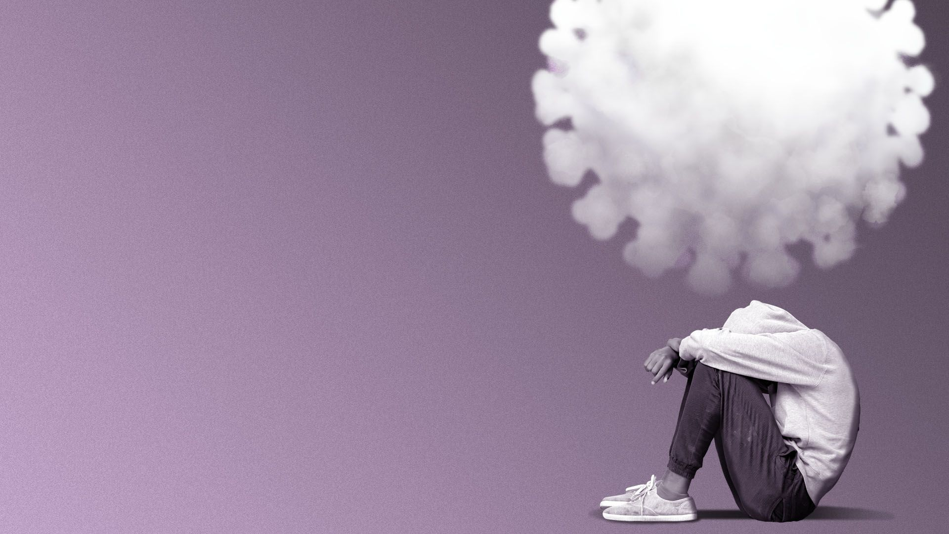 Illustration of a person sitting under a cloud shaped like a virus