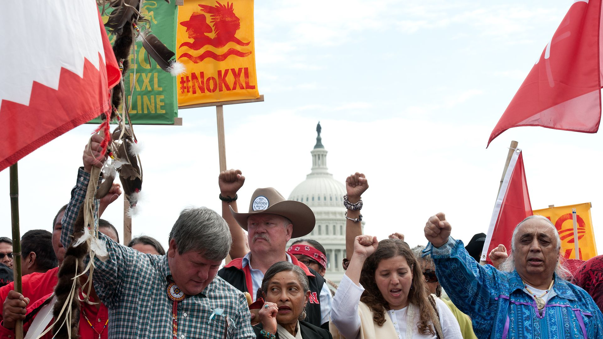 Protests about the construction of the Keystone XL Pipeline