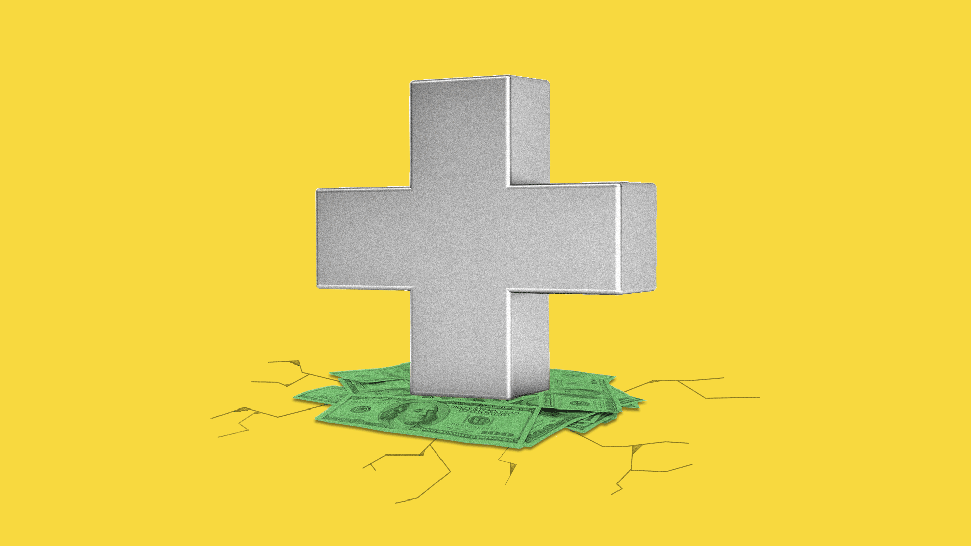 Illustration of a giant health plus on top of a pile of cash, the ground underneath is cracking.