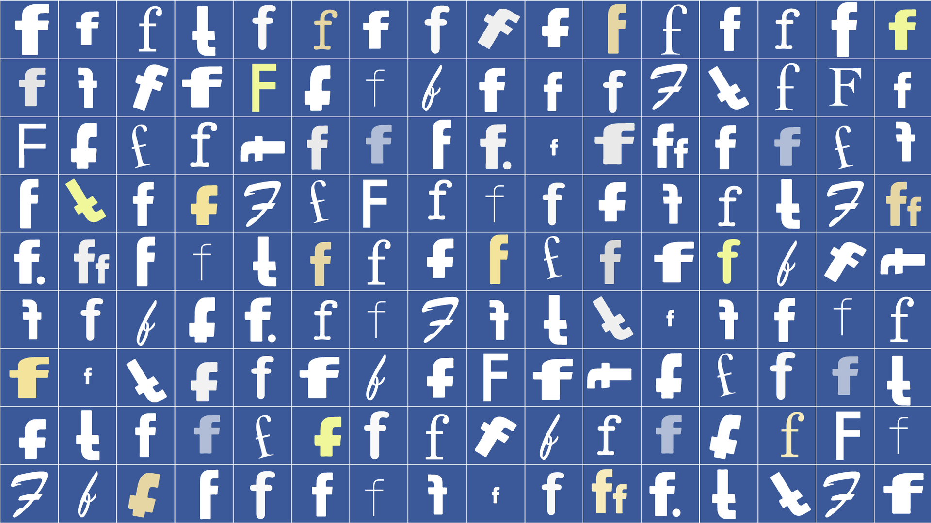 An illustration with many different Facebook logo stylings