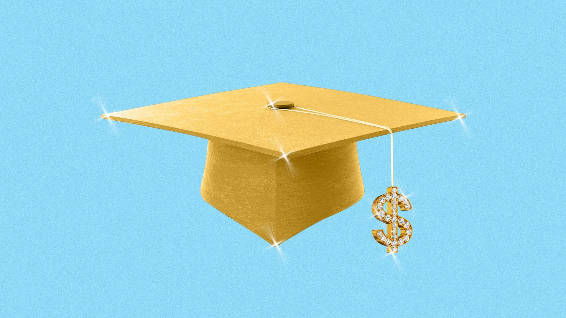 An illustration of a graduation cap with a dollar sign at the end of the tassle.