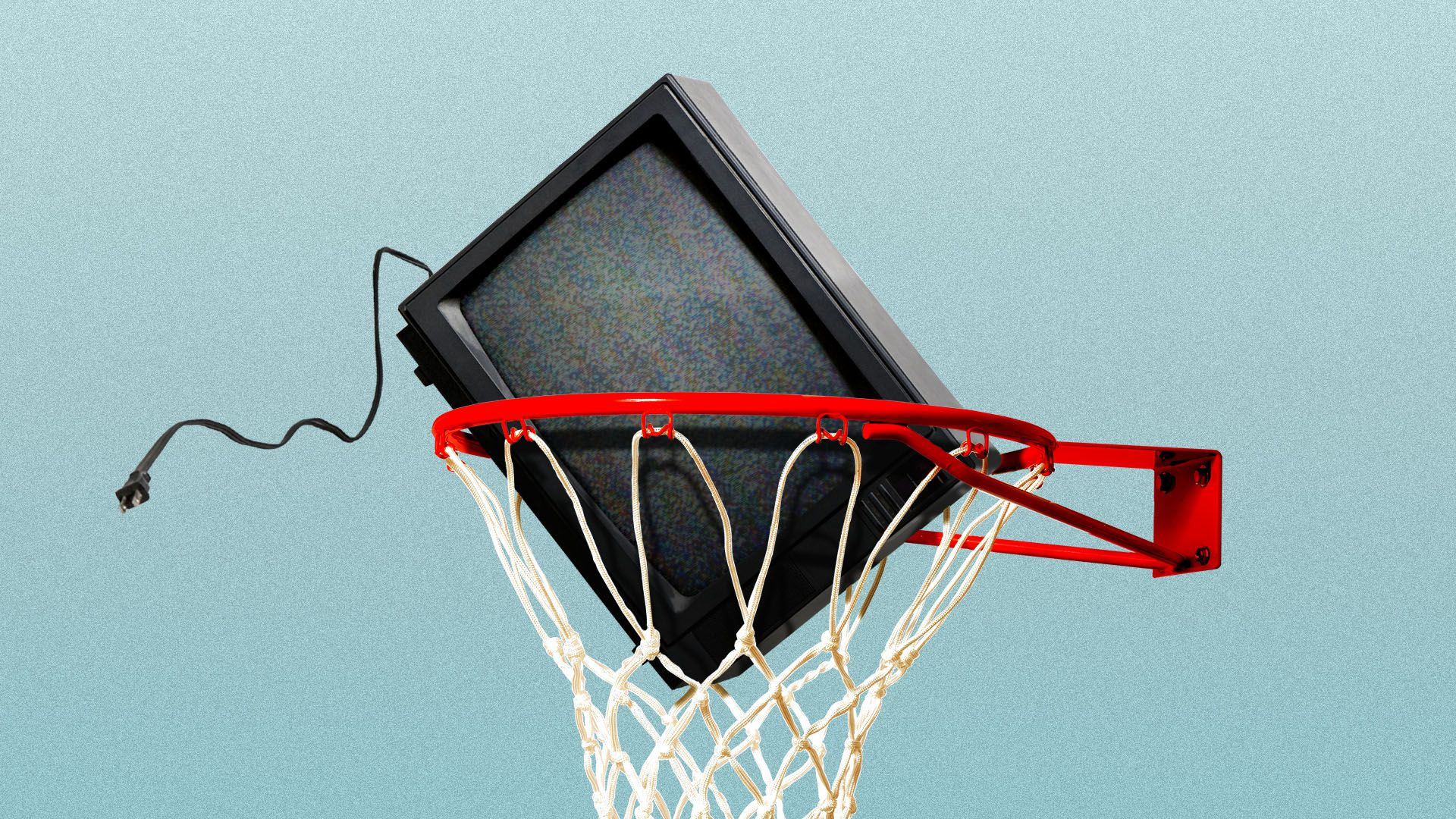Illustration of a television falling through a basketball hoop
