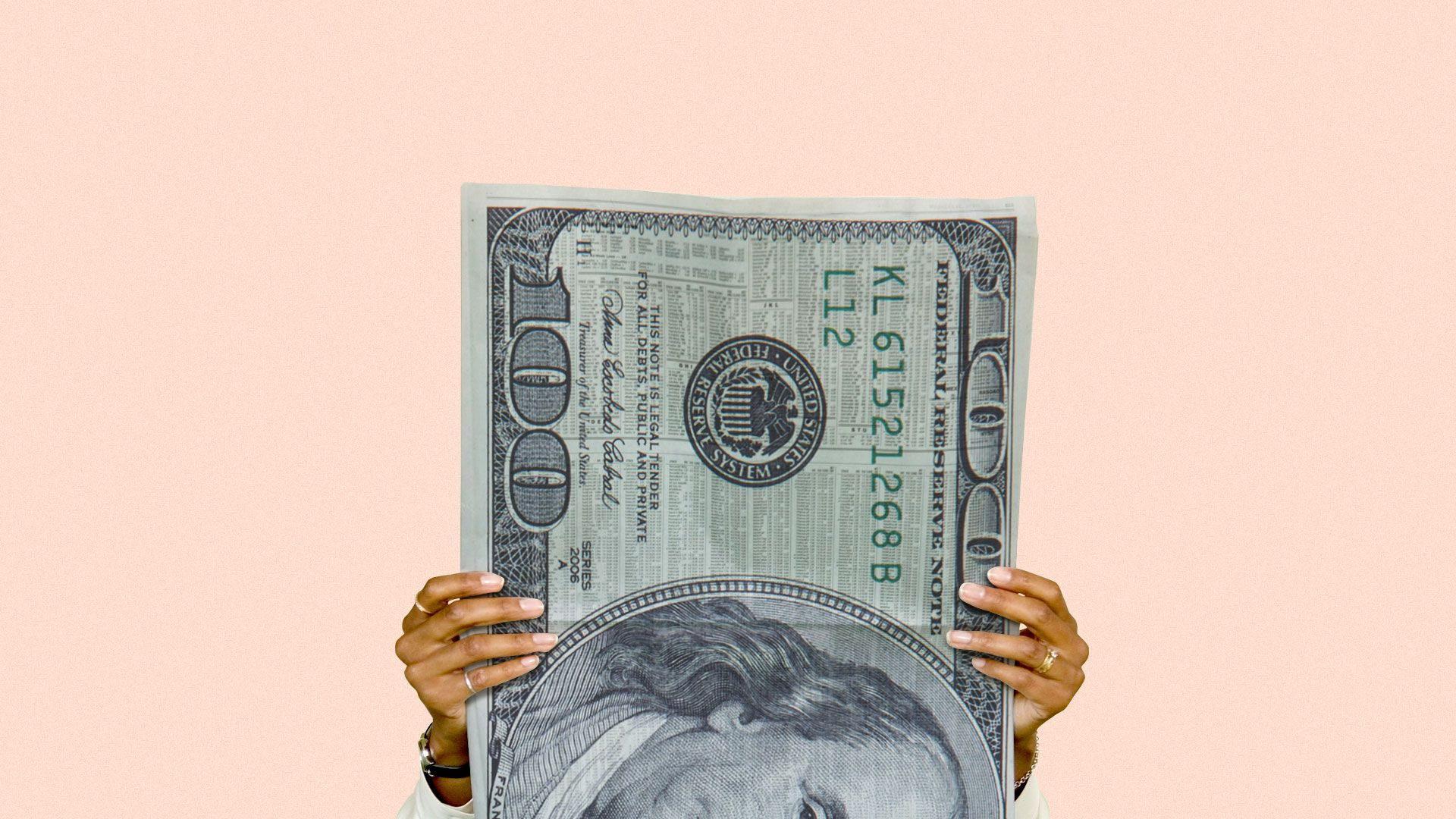 Illustration of a person holding money