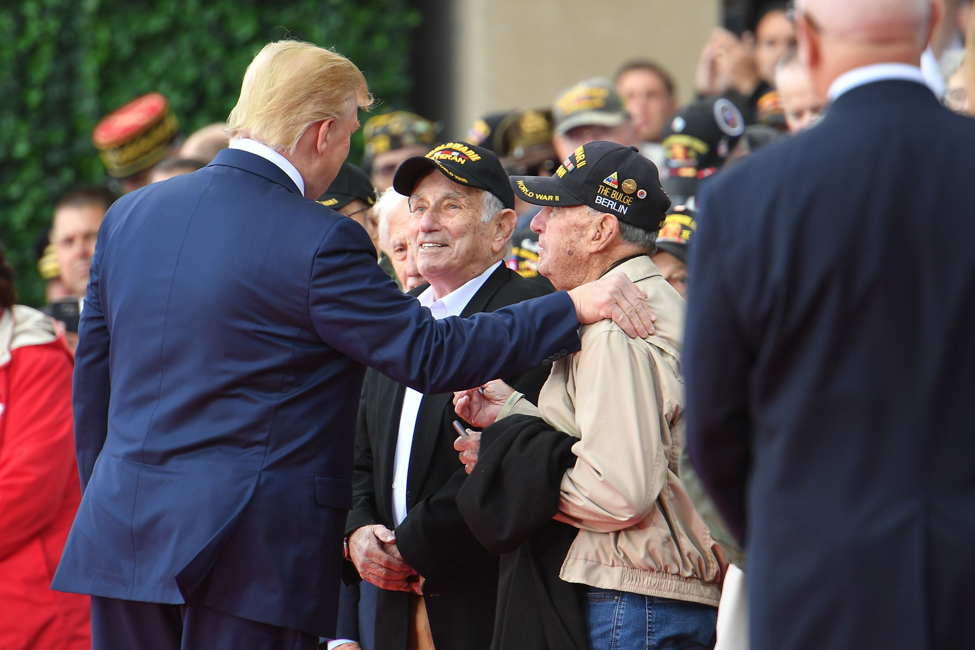 OP-065 DONALD TRUMP DURING THE 75TH COMMEMORATION OF D-DAY FRANCE  8X10 PHOTO