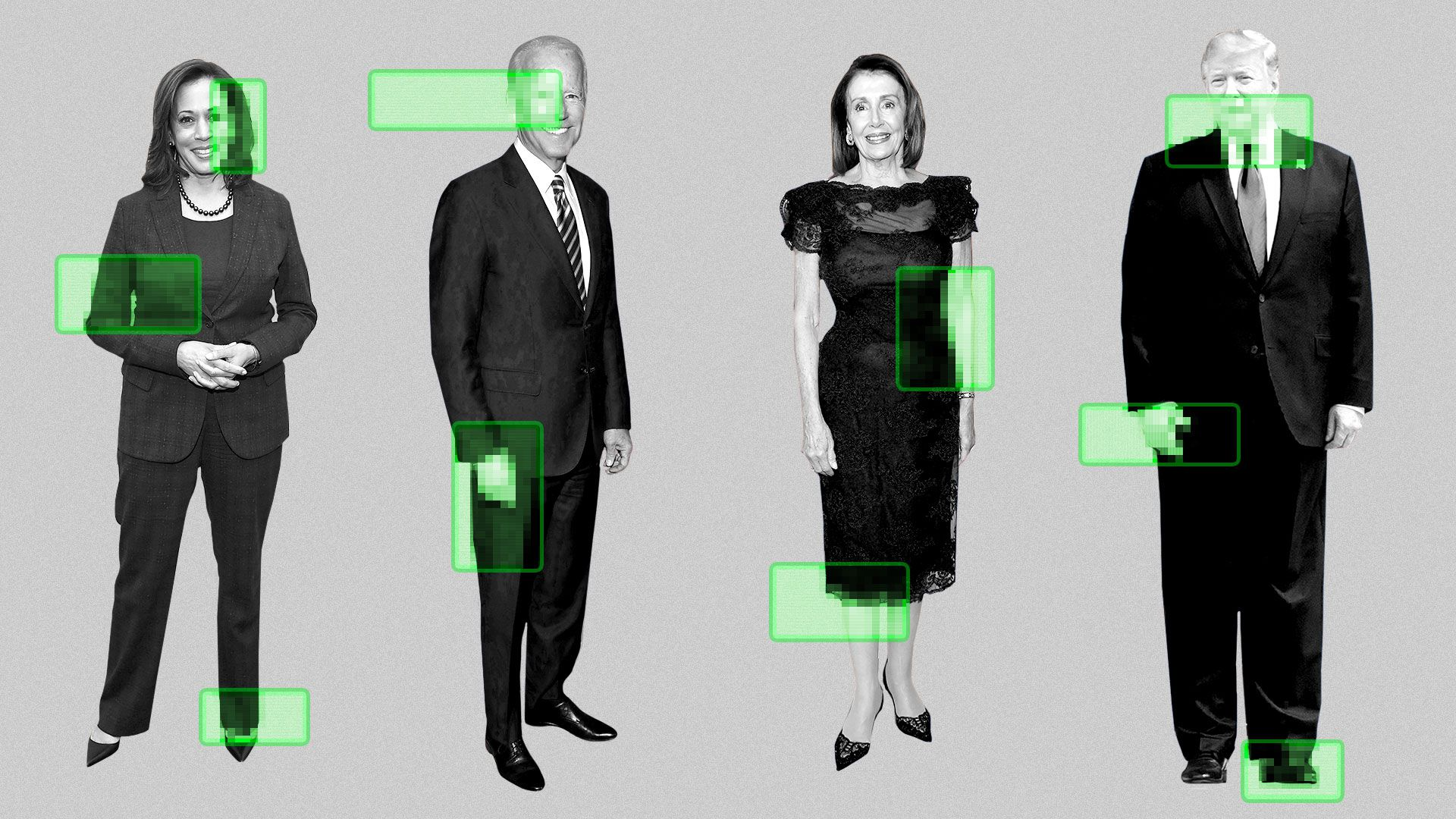 Illustration of Kamala Harris, Joe Biden, Nancy Pelosi and President Trump with various areas highlighted with scan lines and a pixel pattern.