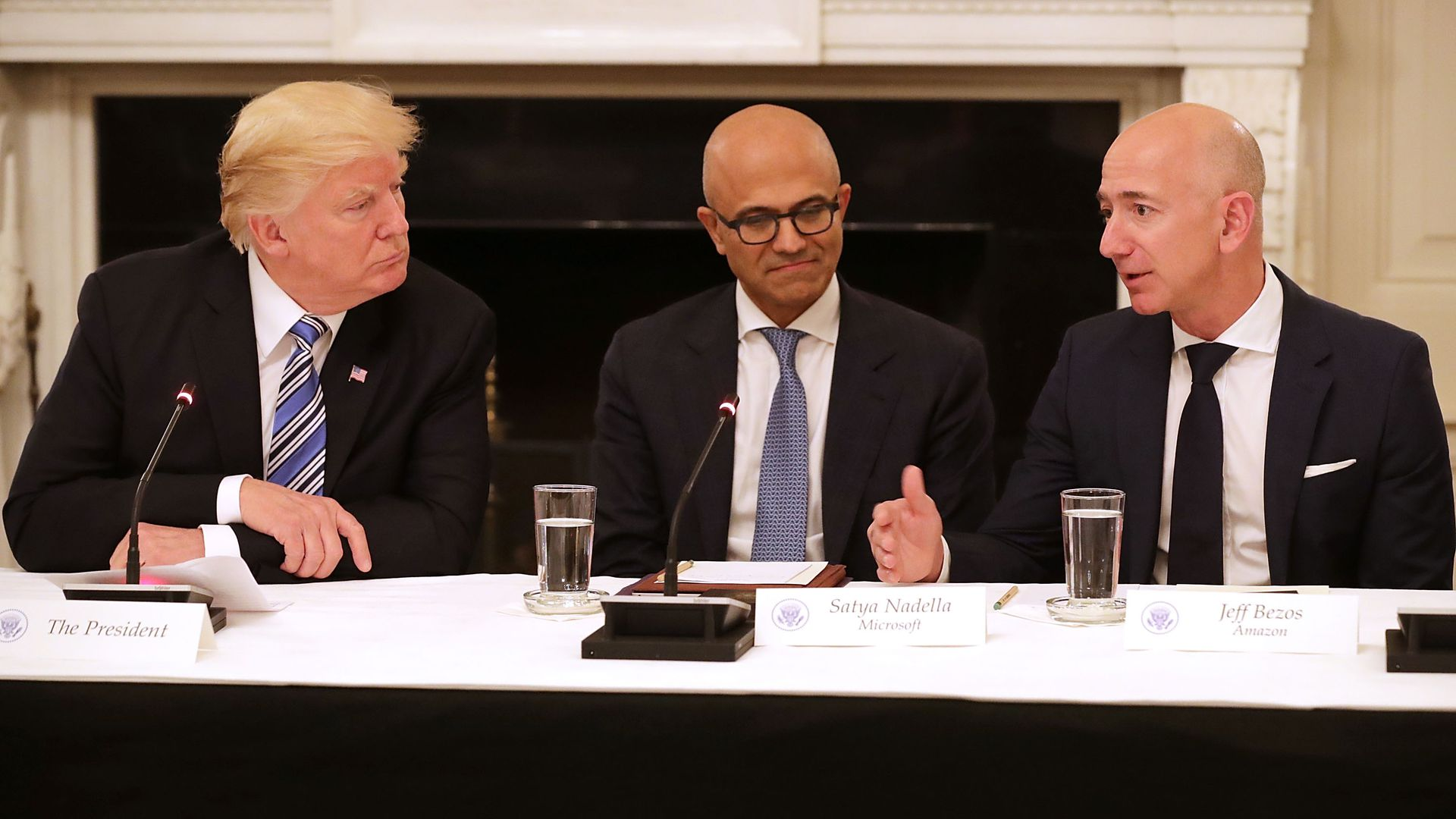 Donald Trump with the CEOs of Microsoft and Amazon