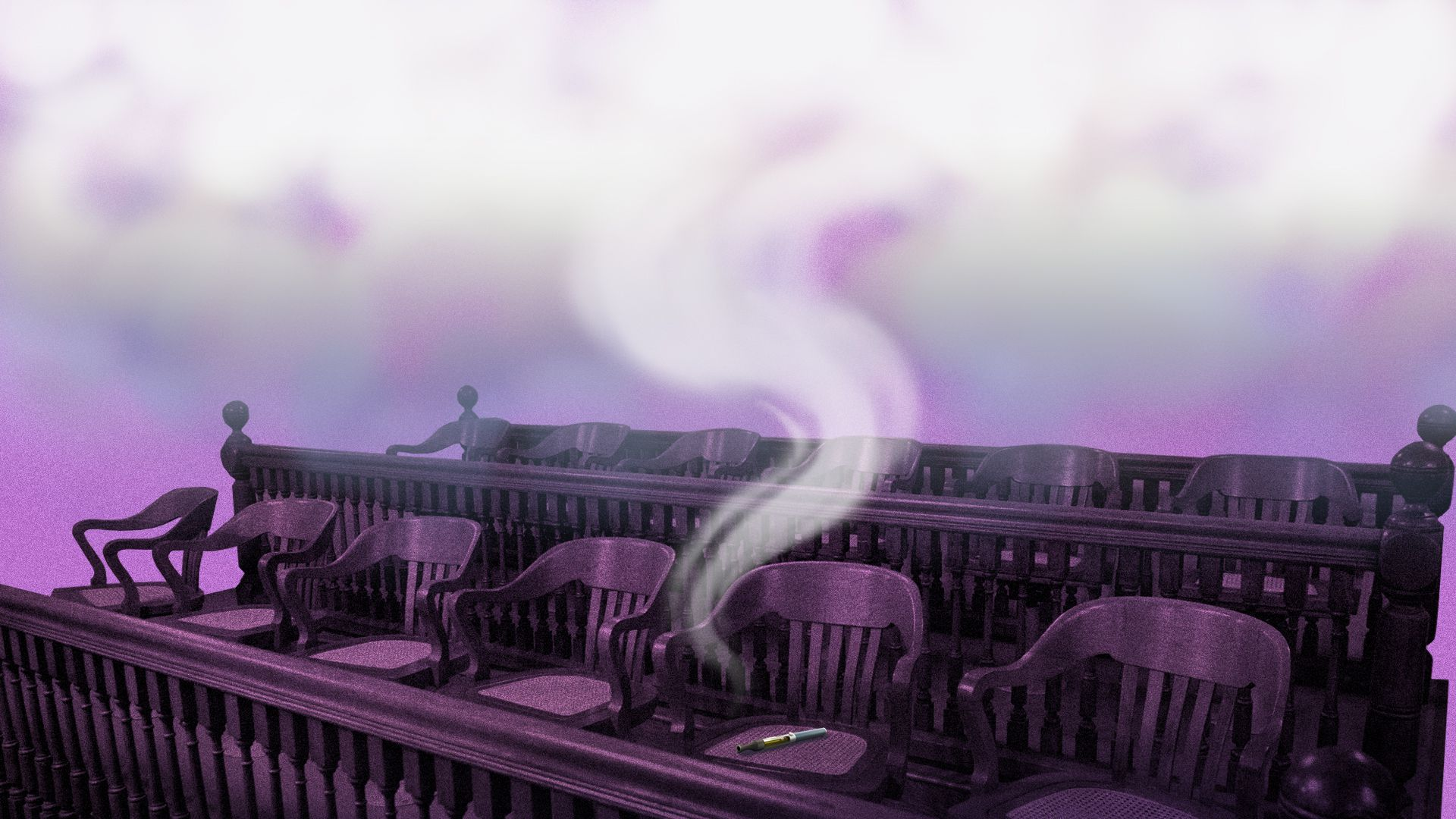 A row of jury chairs in a courtroom with one e-cigarette on a chair causing the air around the chairs to be smokey.