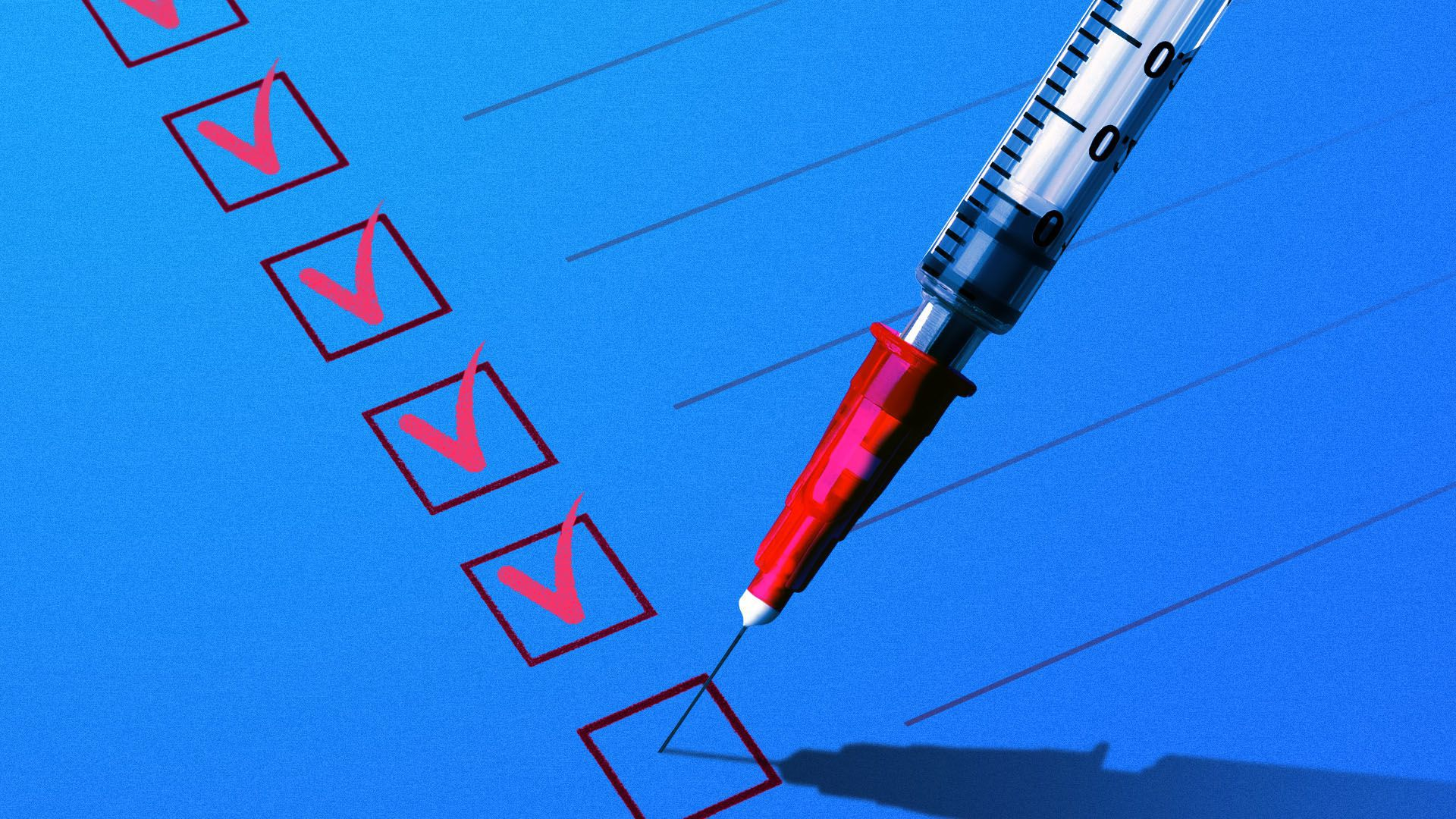 Illustration of a syringe checking off boxes on a list