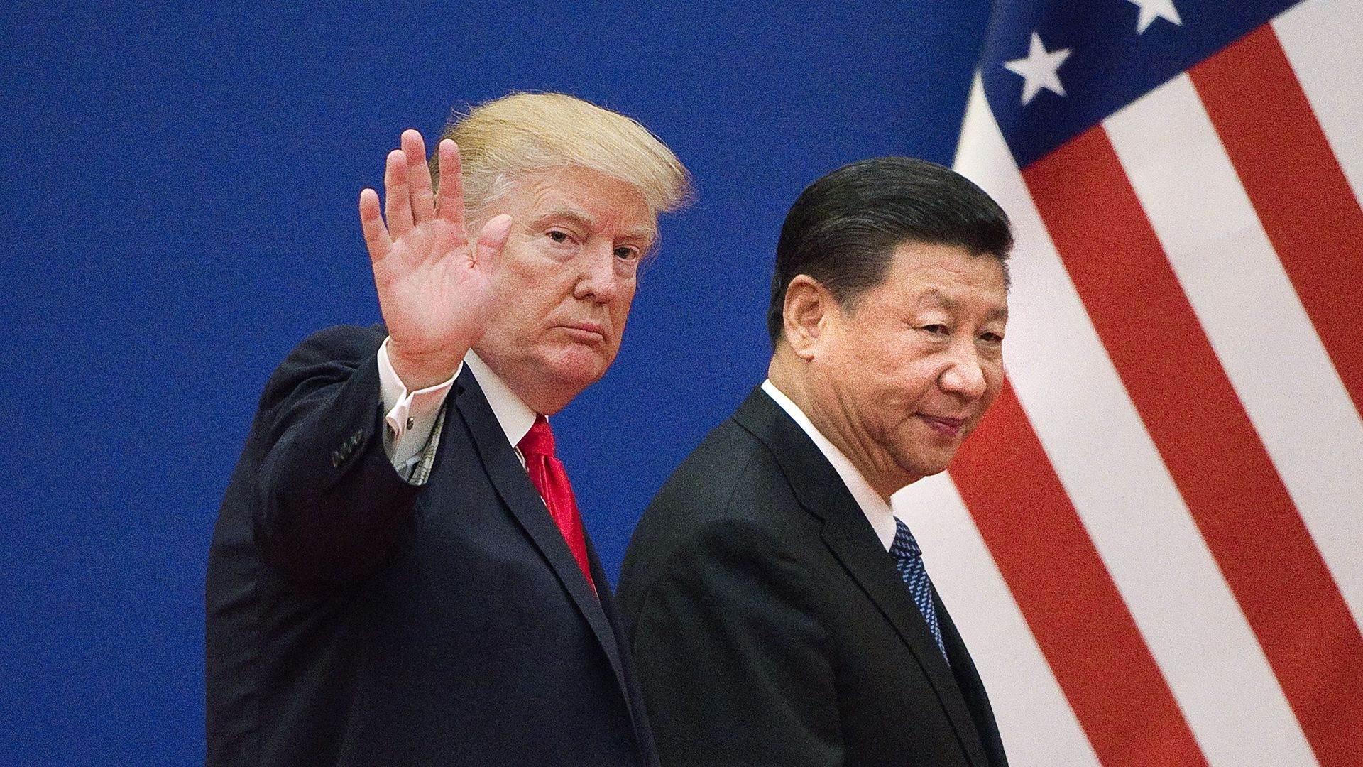 Donald Trump and Xi Jinping of China. The trade delegations are currently negotiating.