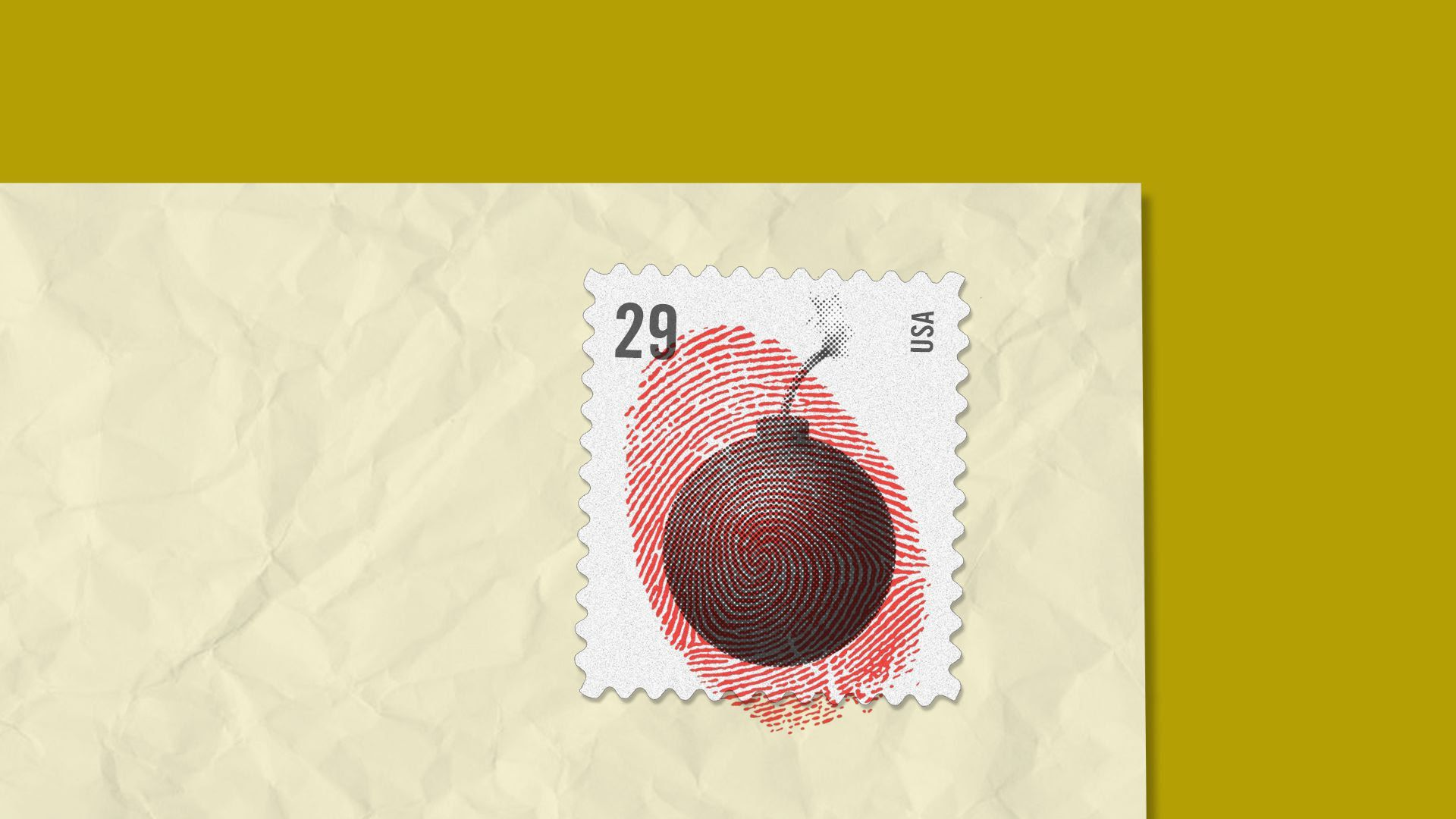 An illustration of a bomb on a stamp with a red fingerprint over it