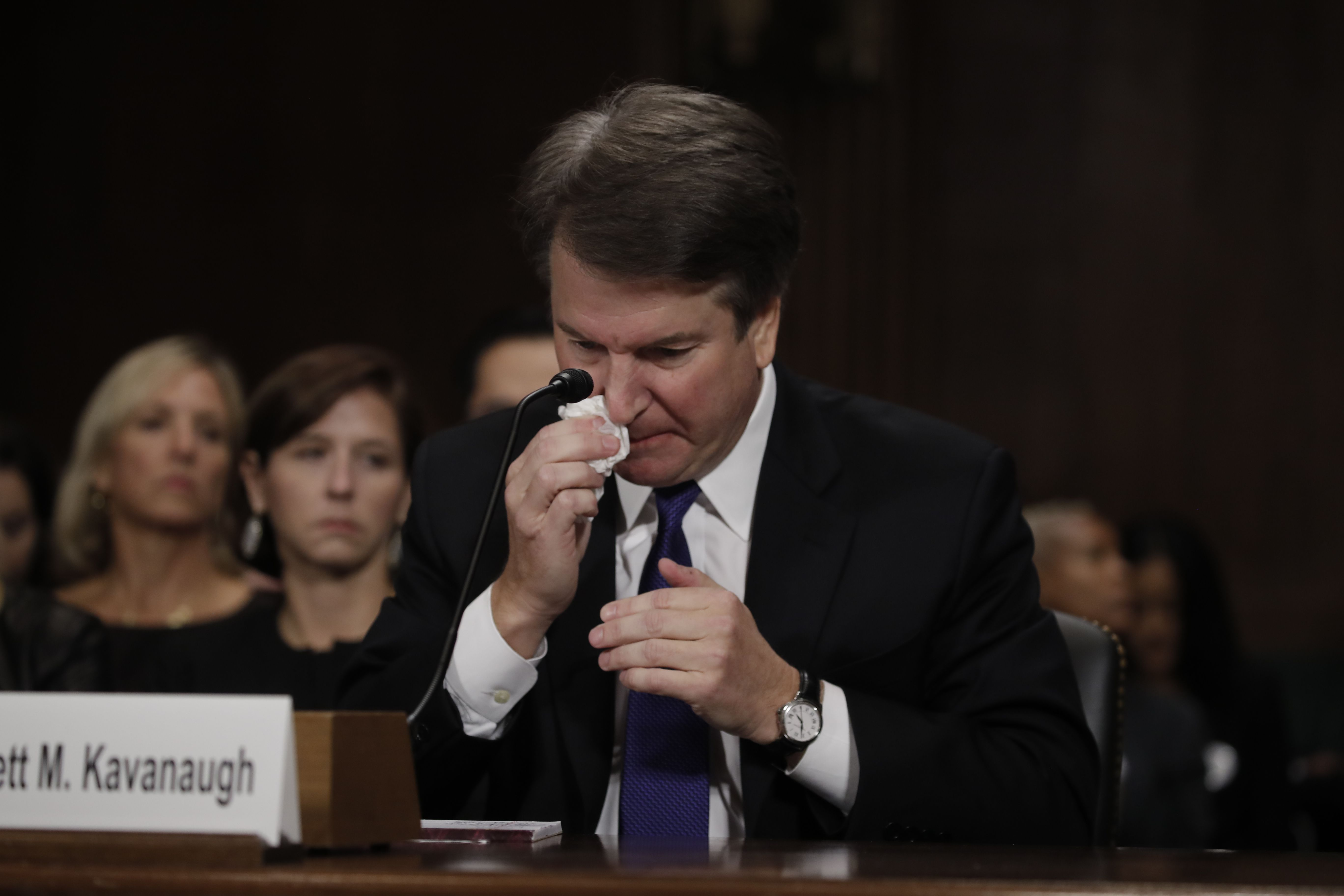 Kavanaugh wipes a tear while testifying. Photo: Tom Williams-Pool/Getty Images