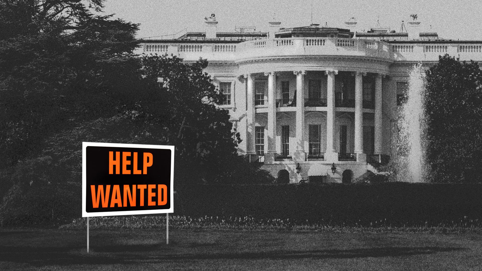 "White House with a ""help wanted"" sign in front of it."