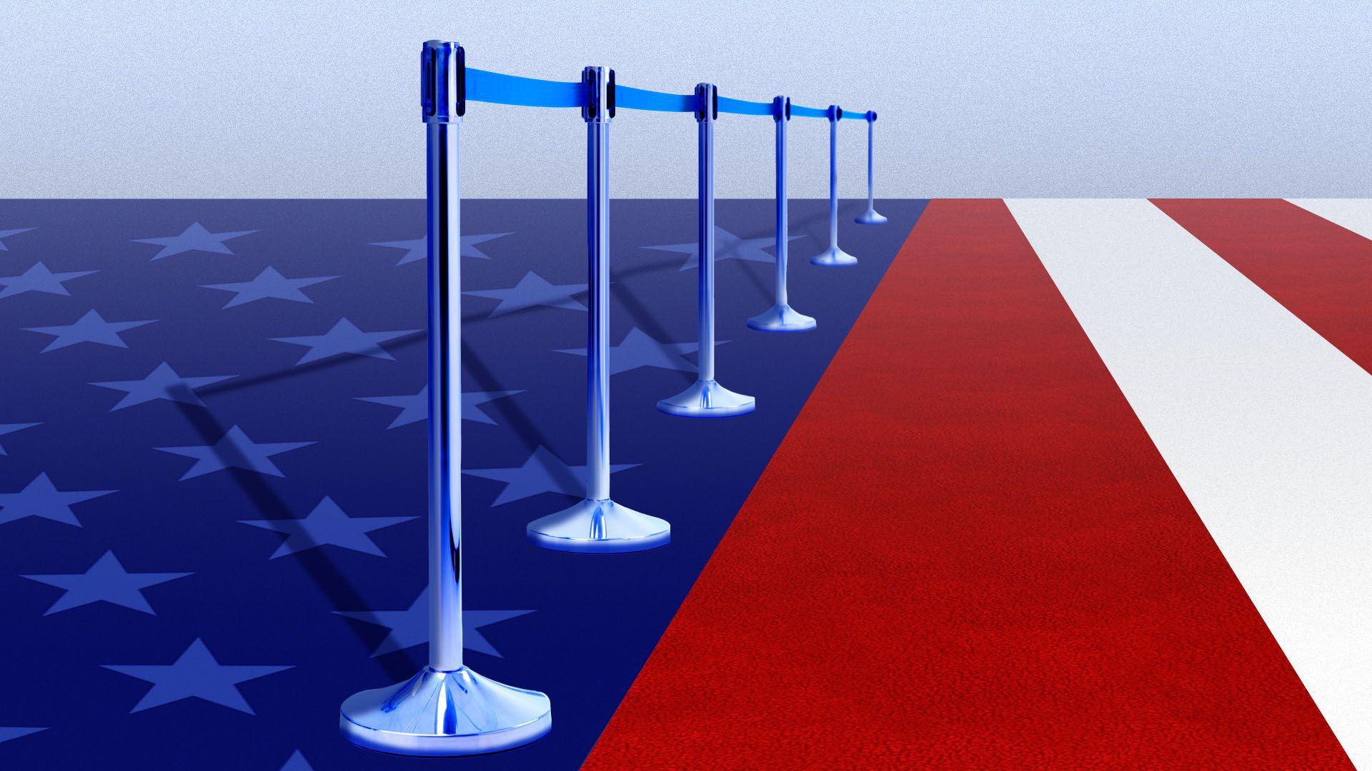 Illustration of the American flag with a stripe as a red carpet with a portable rope barrier beside it