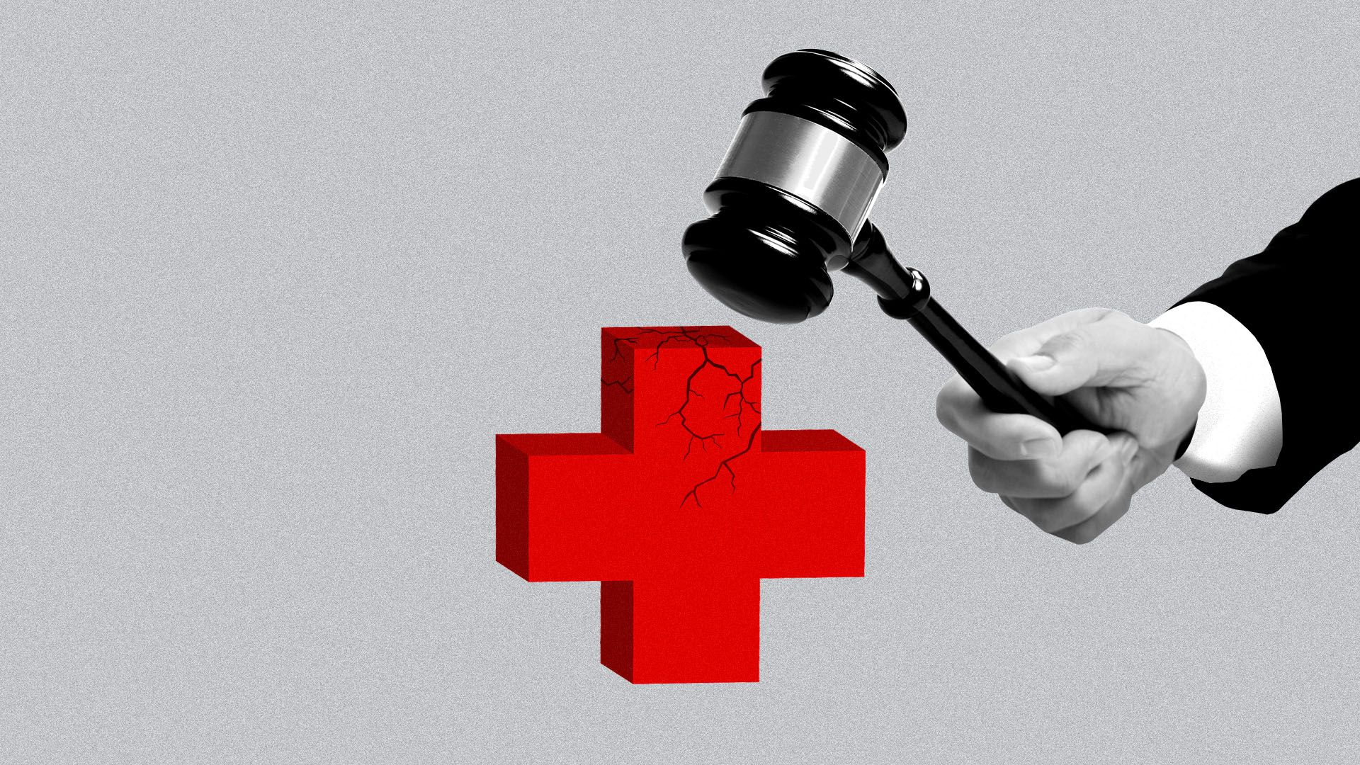 Illustration of hand with gavel breaking a red cross symbol