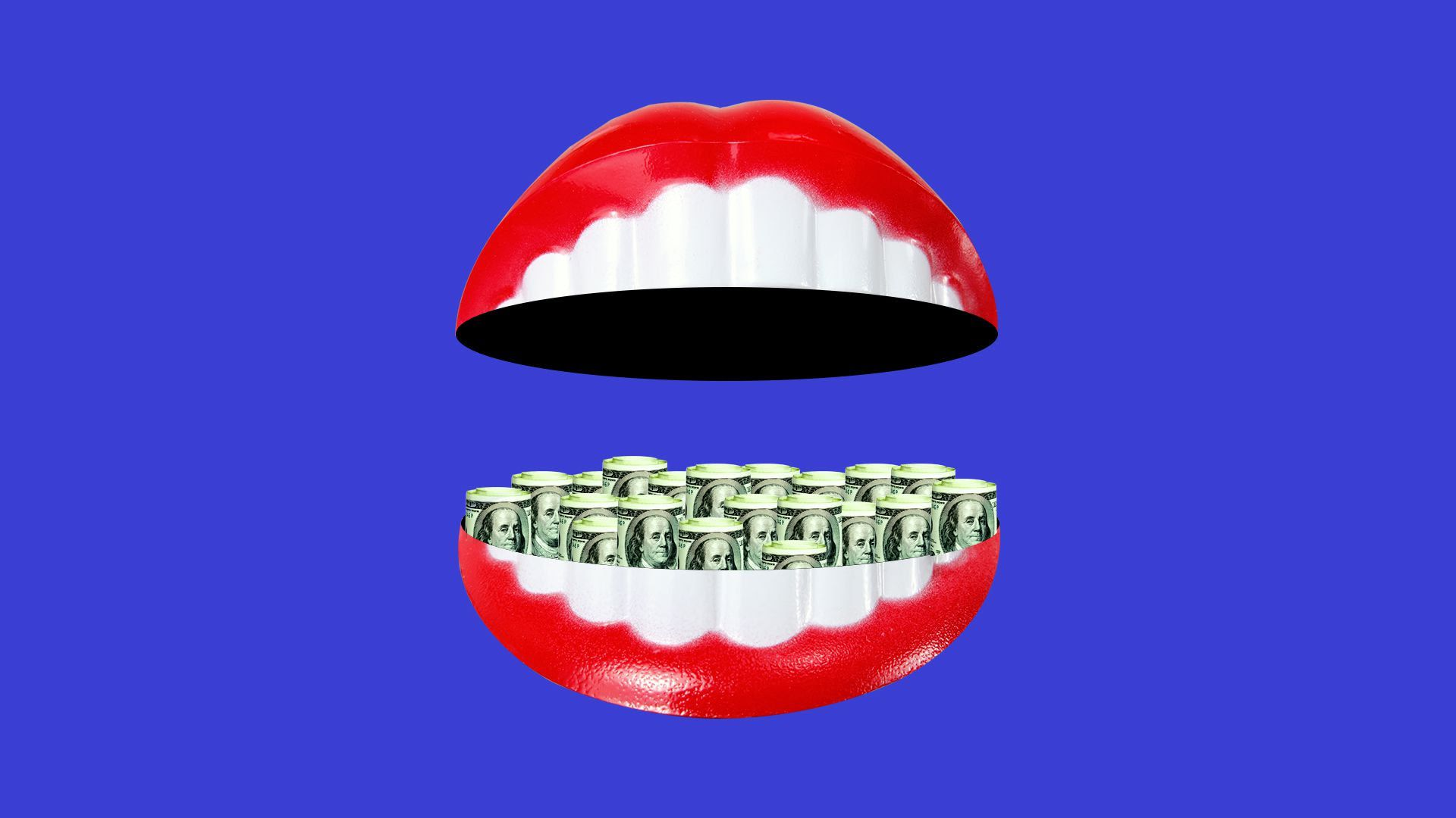 Illustration of dentures with dollar bills rolled up in it