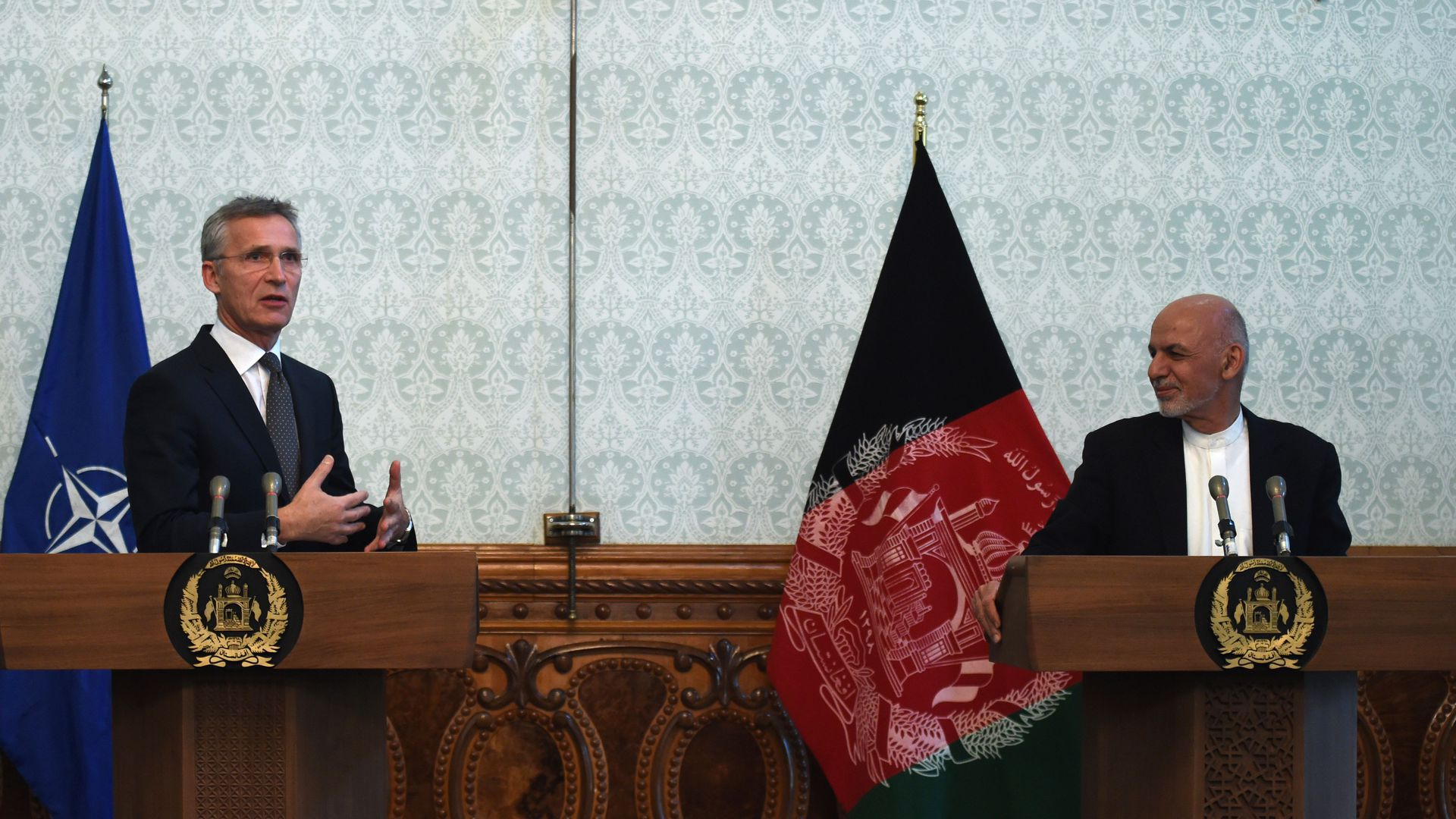 Secretary General of North Atlantic Treaty Organization (NATO) Jens Stoltenberg (L) gestures as speaks during a joint press conference with Afghan President Ashraf Ghani