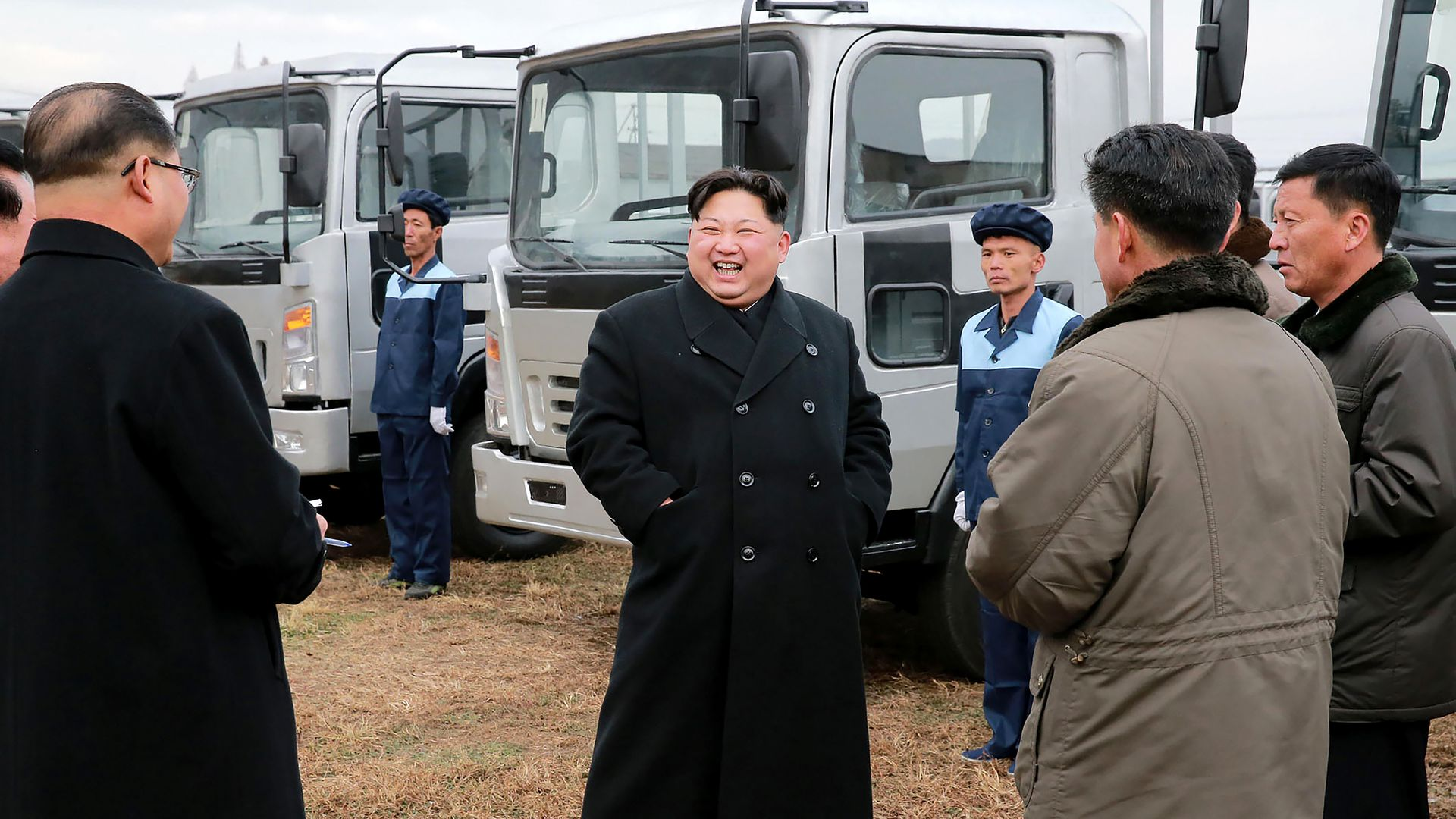 Kim Jong-Un at the Sungri Motor Complex in South Pyongan Province.