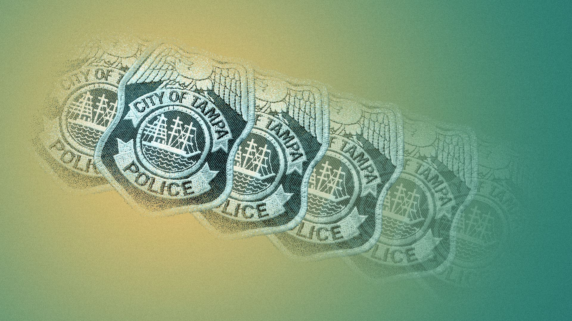 Photo illustration of a series of Tampa Bay Police patches, some of them faded.