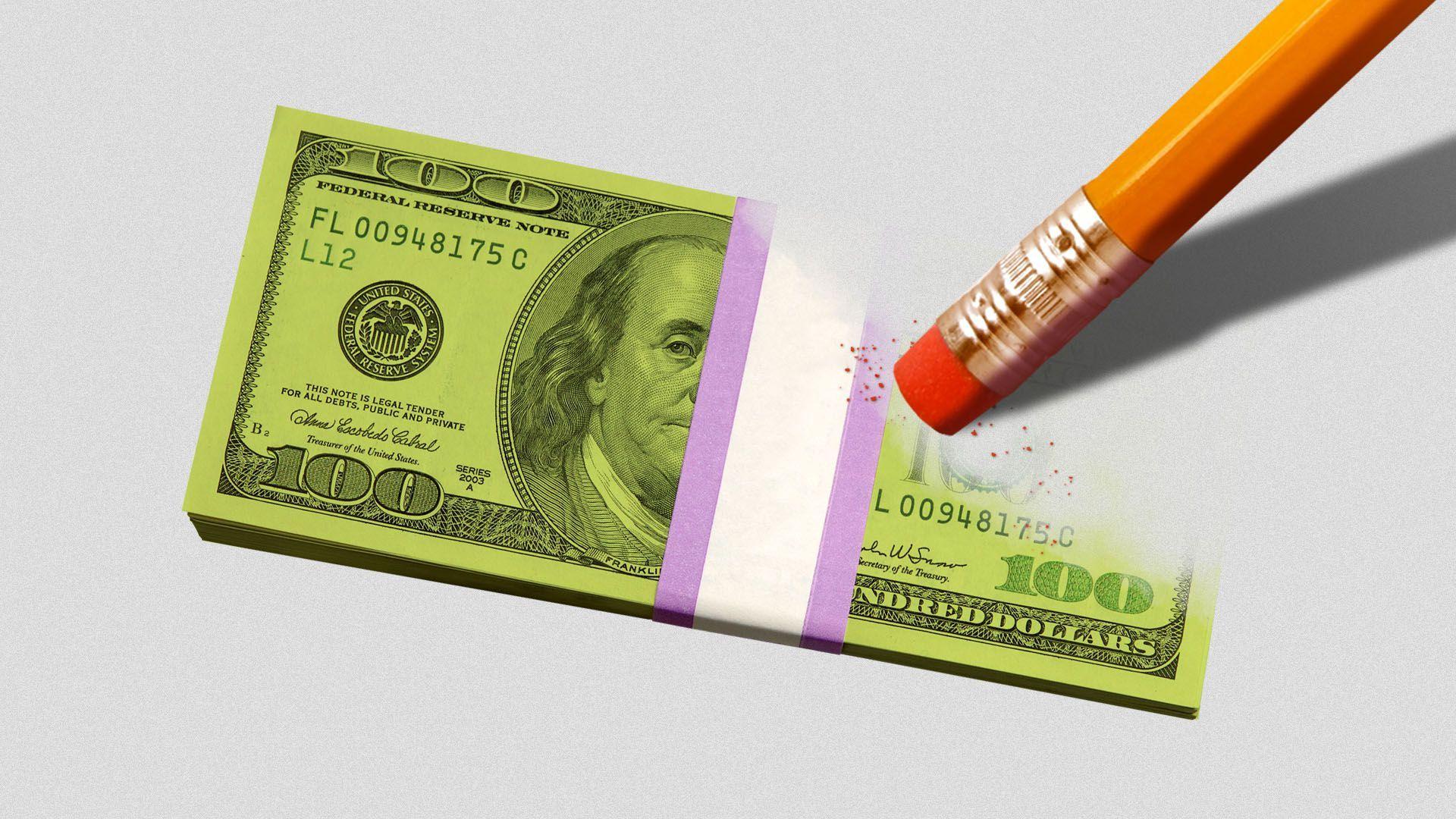 Illustration of a stack of hundred dollar bills being erased