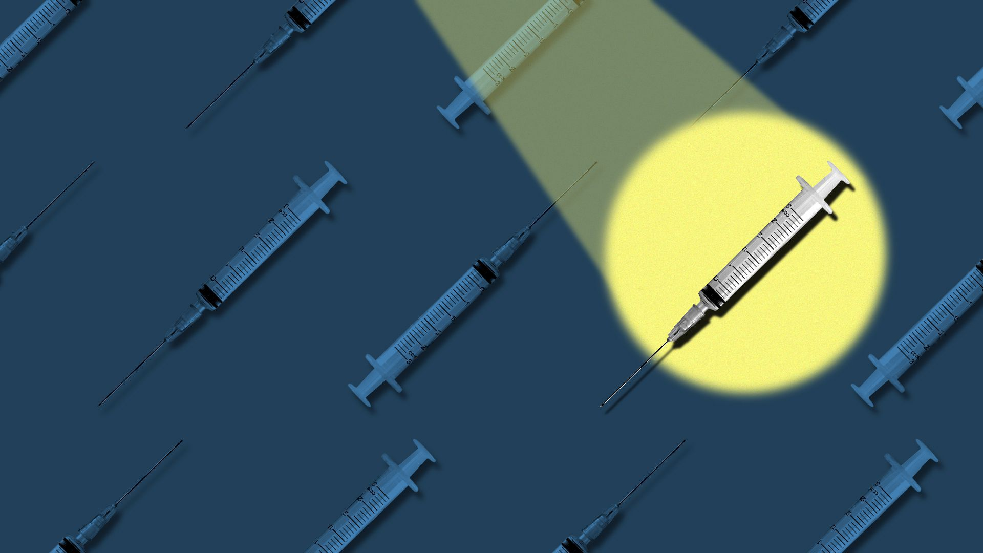 Illustration of a pattern of syringes, with a spotlight on one of them.